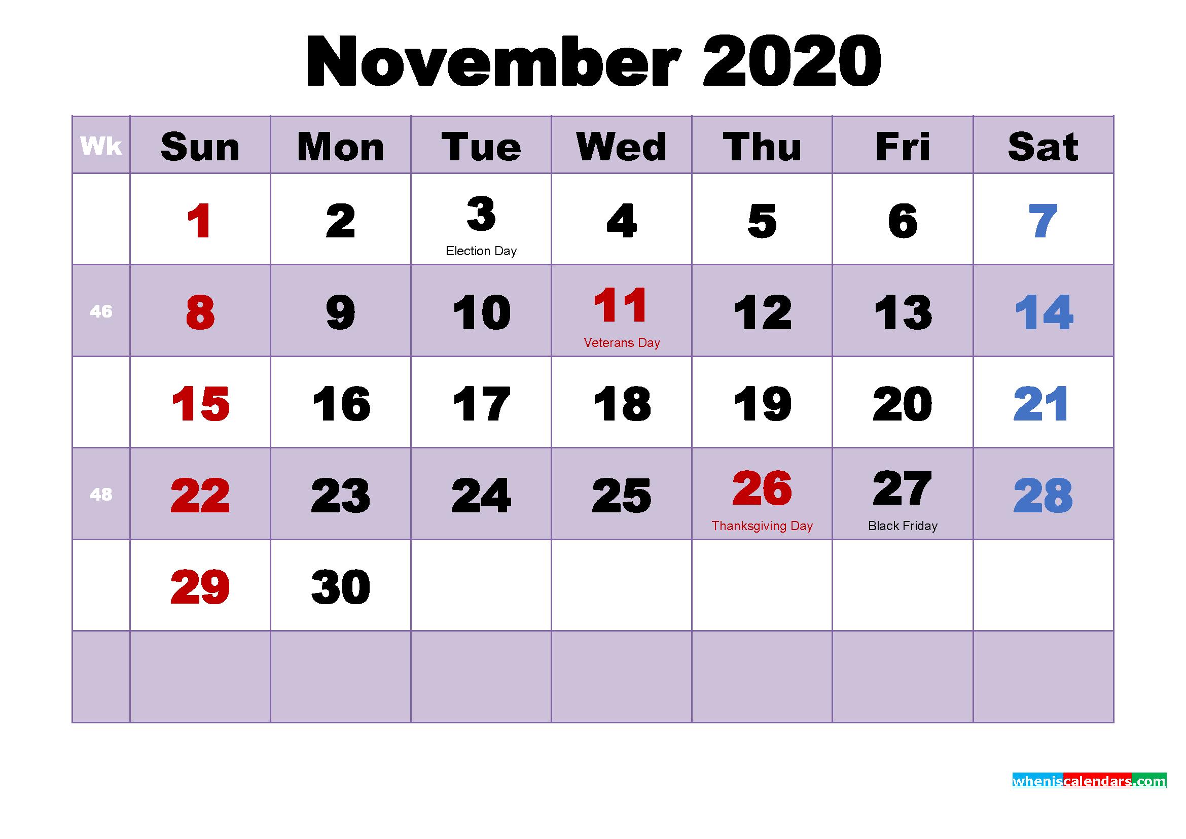 Free Printable November 2020 Calendar Word