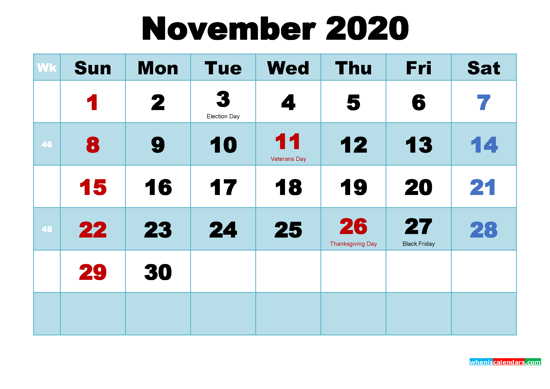November 2020 Free Printable Calendar with Holidays