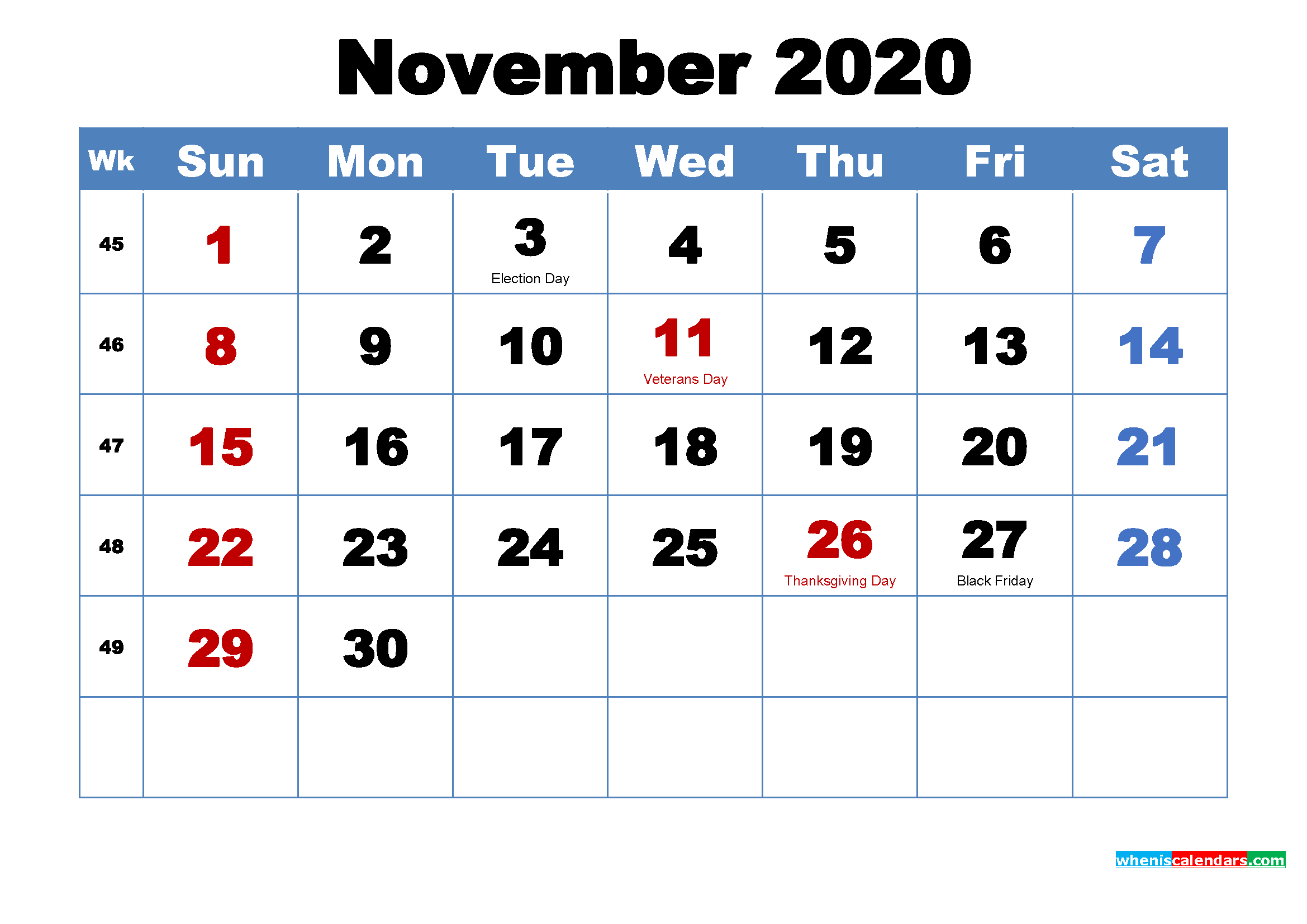 Free Printable November 2020 Calendar with Holidays - Free ...
