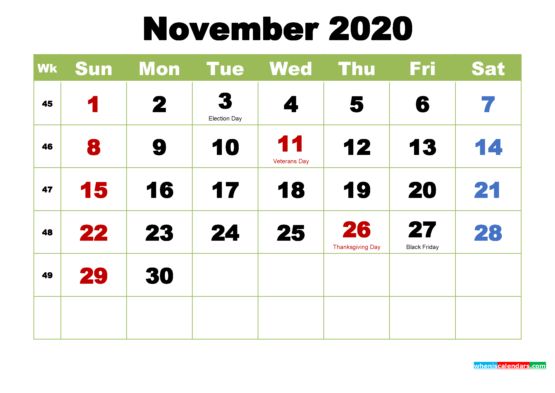 November 2020 Calendar with Holidays Wallpaper
