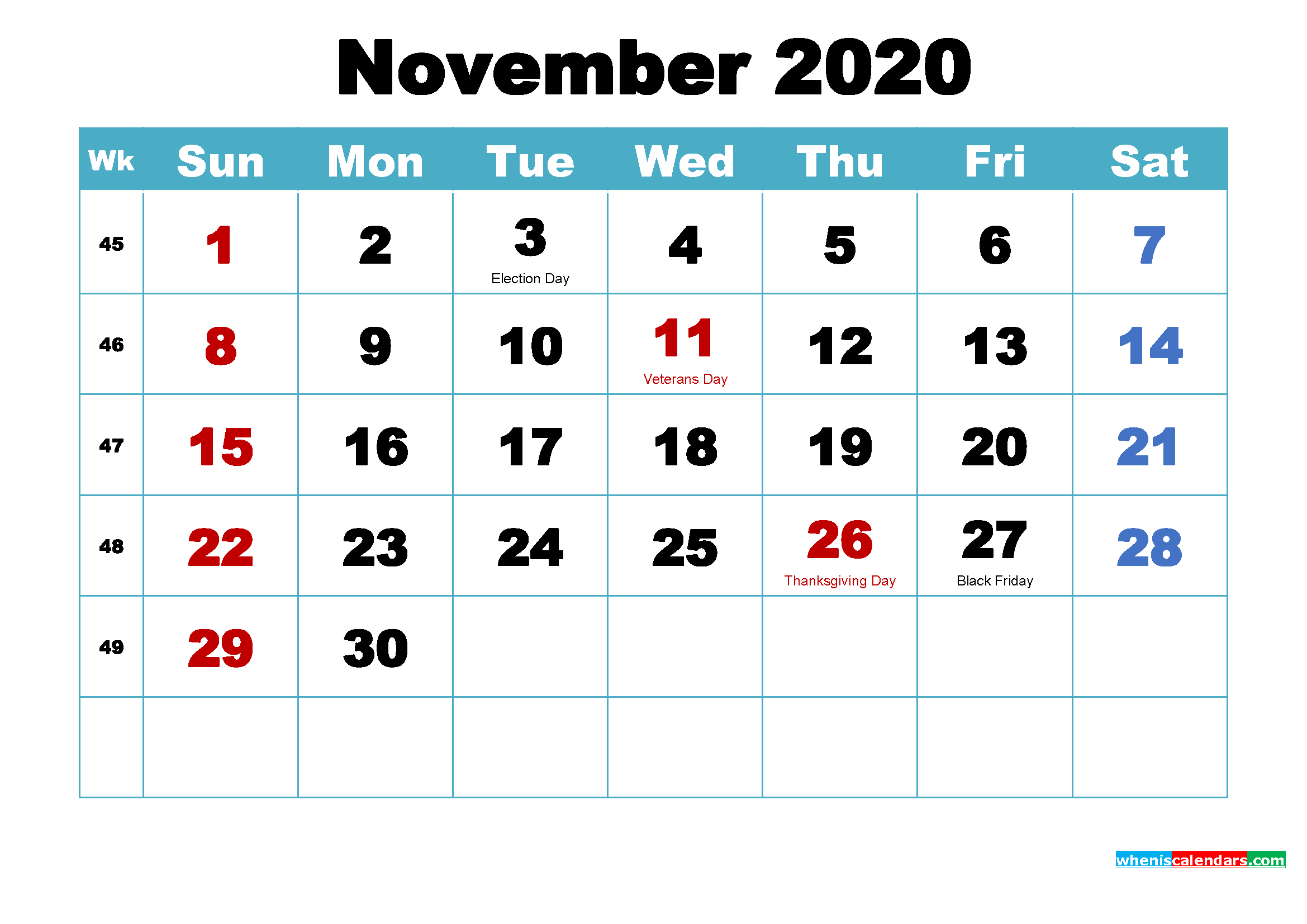 november 2020 monthly calendar printable holidays arialblk 6
