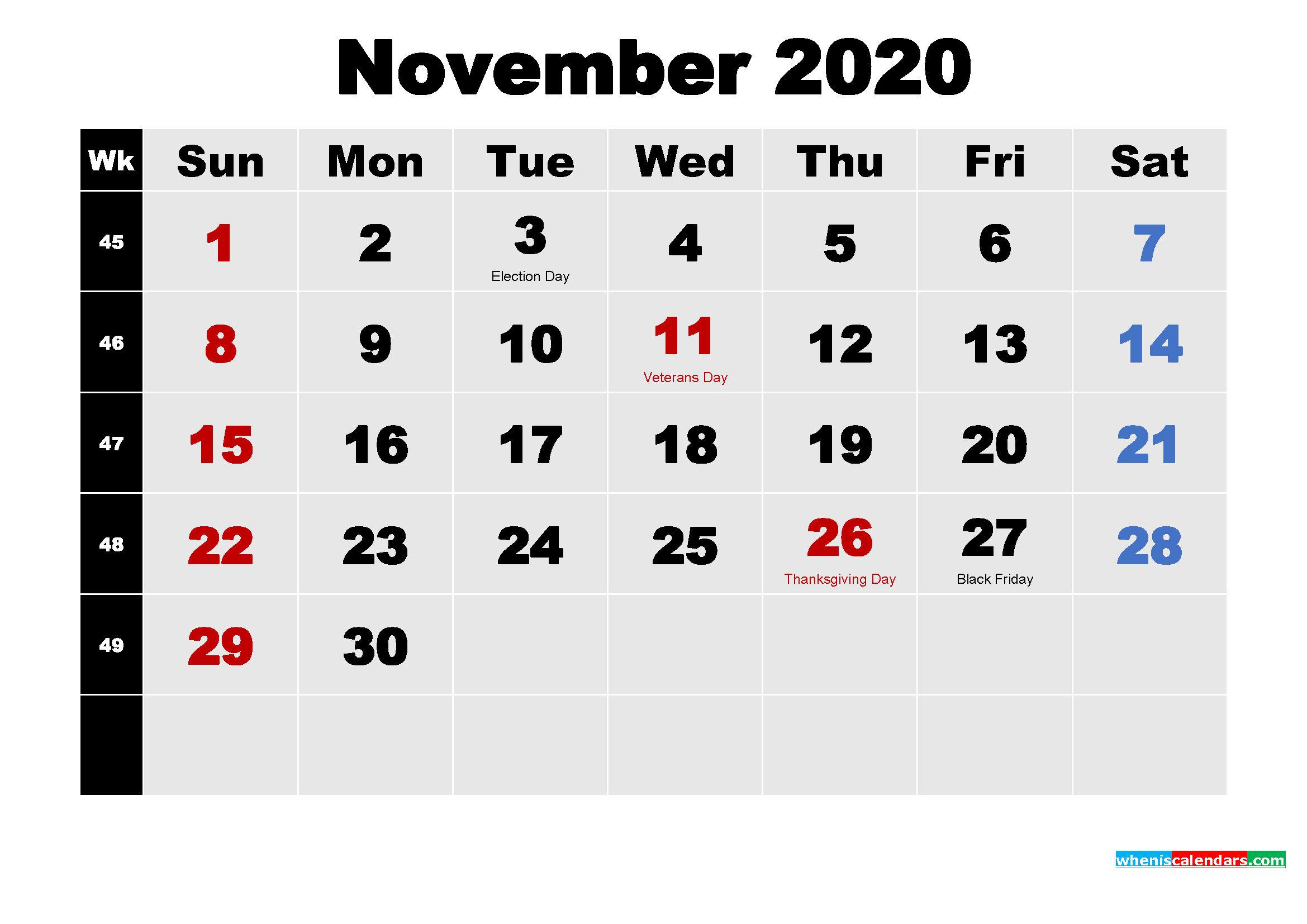 Free November 2020 Printable Calendar Template Word, PDF