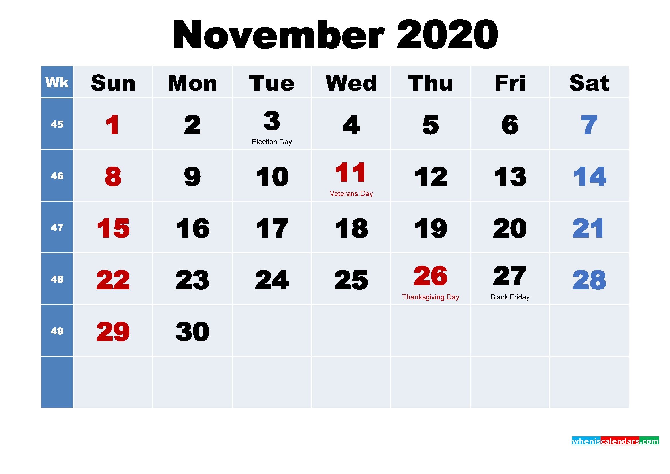 Free Printable November 2020 Calendar Wallpaper