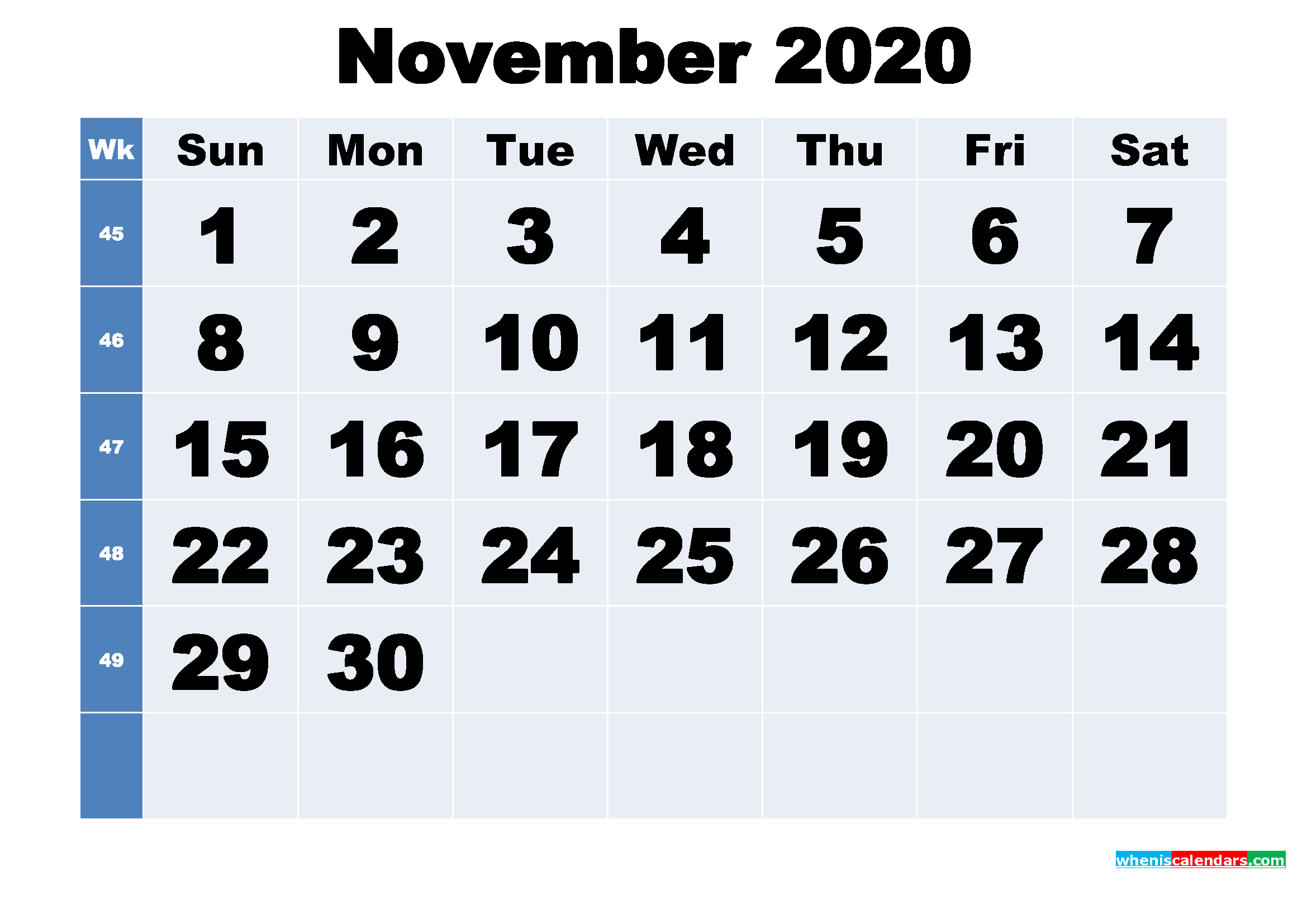 Free Printable November 2020 Calendar Template Word, PDF