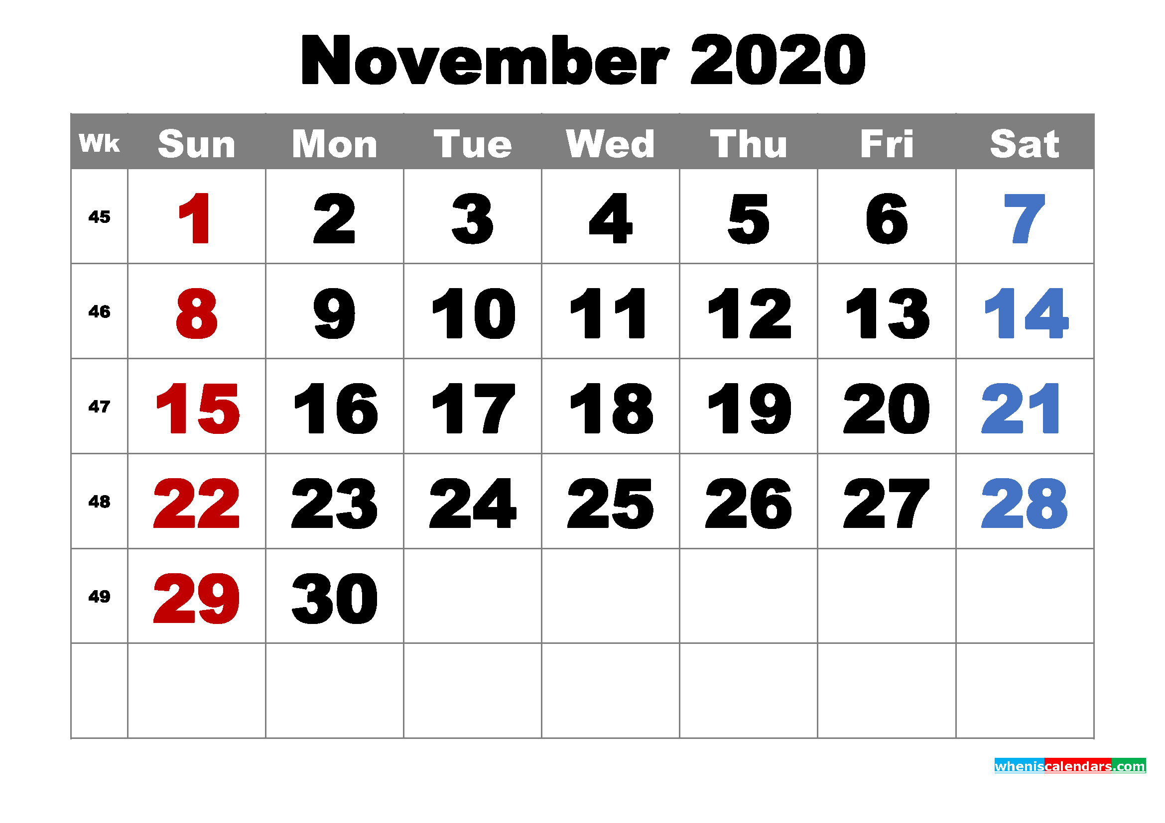 Free Printable November 2020 Calendar Word, PDF, Image