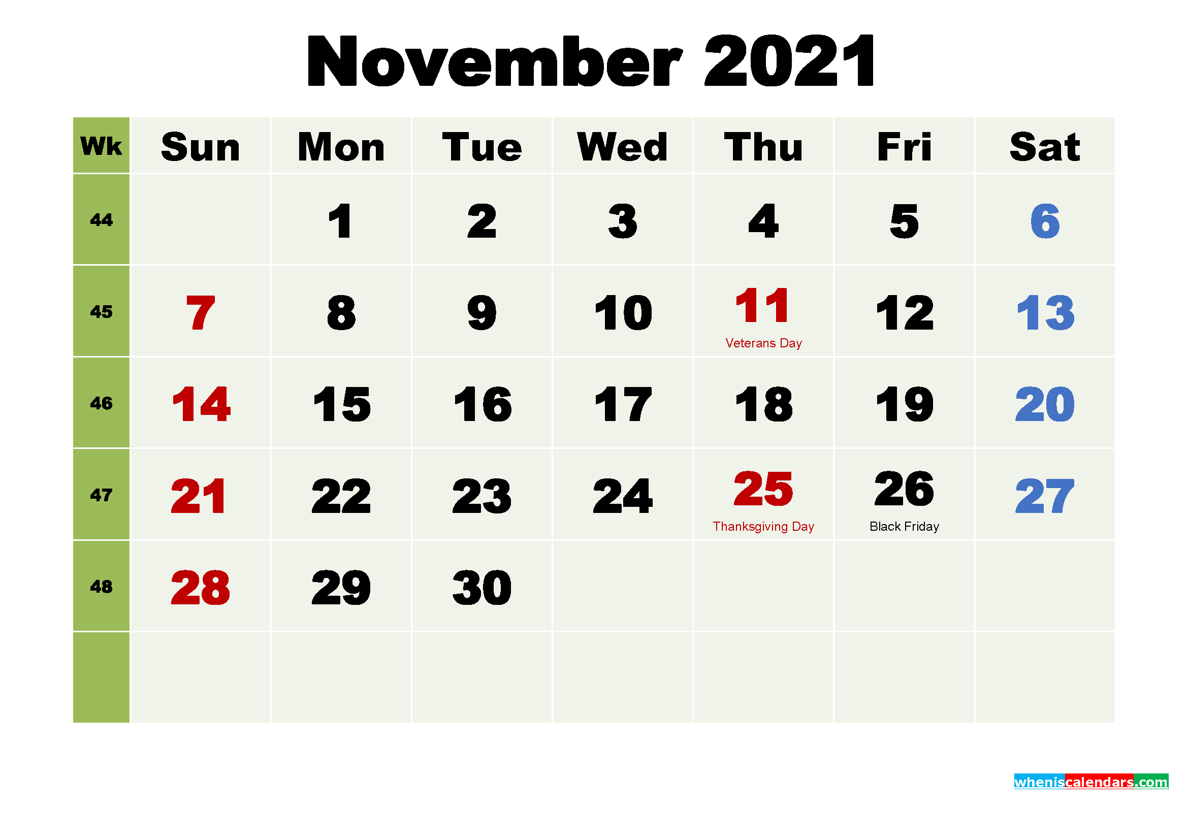 Printable Calendar November 2021 with Holidays as Word, PDF