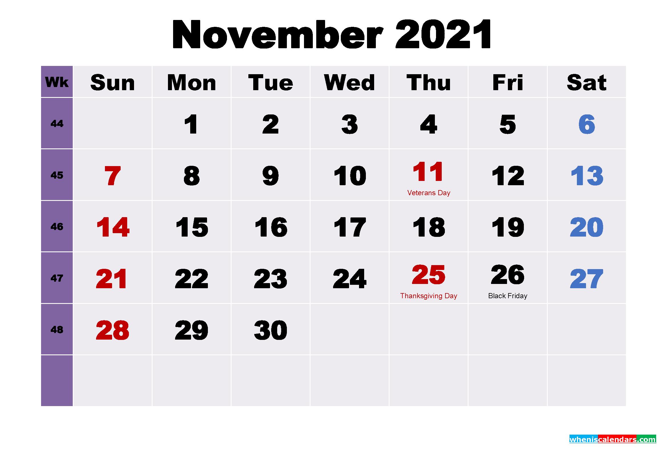 November 2021 Desktop Calendar Free Download