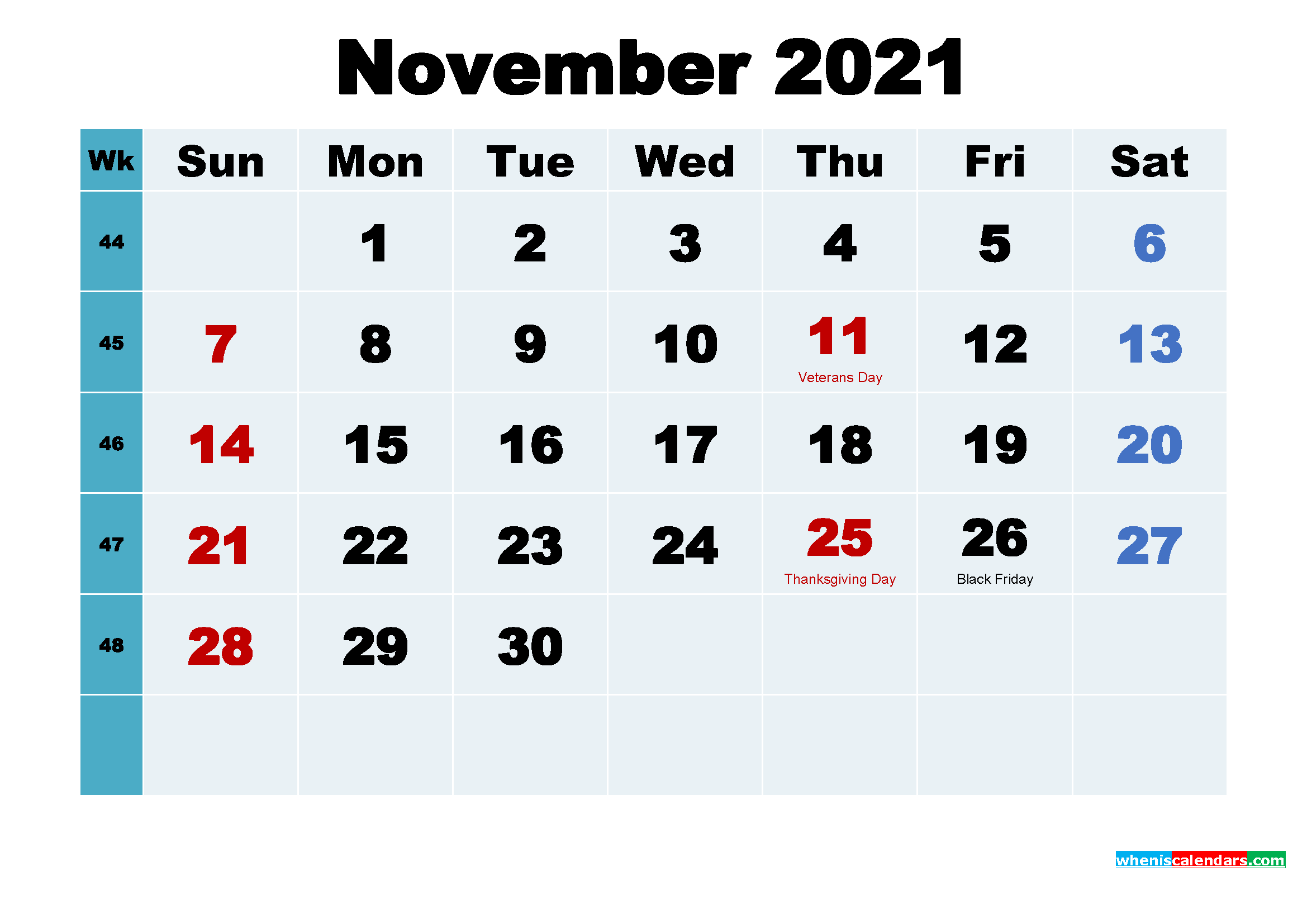 Free November 2021 Printable Calendar with Holidays