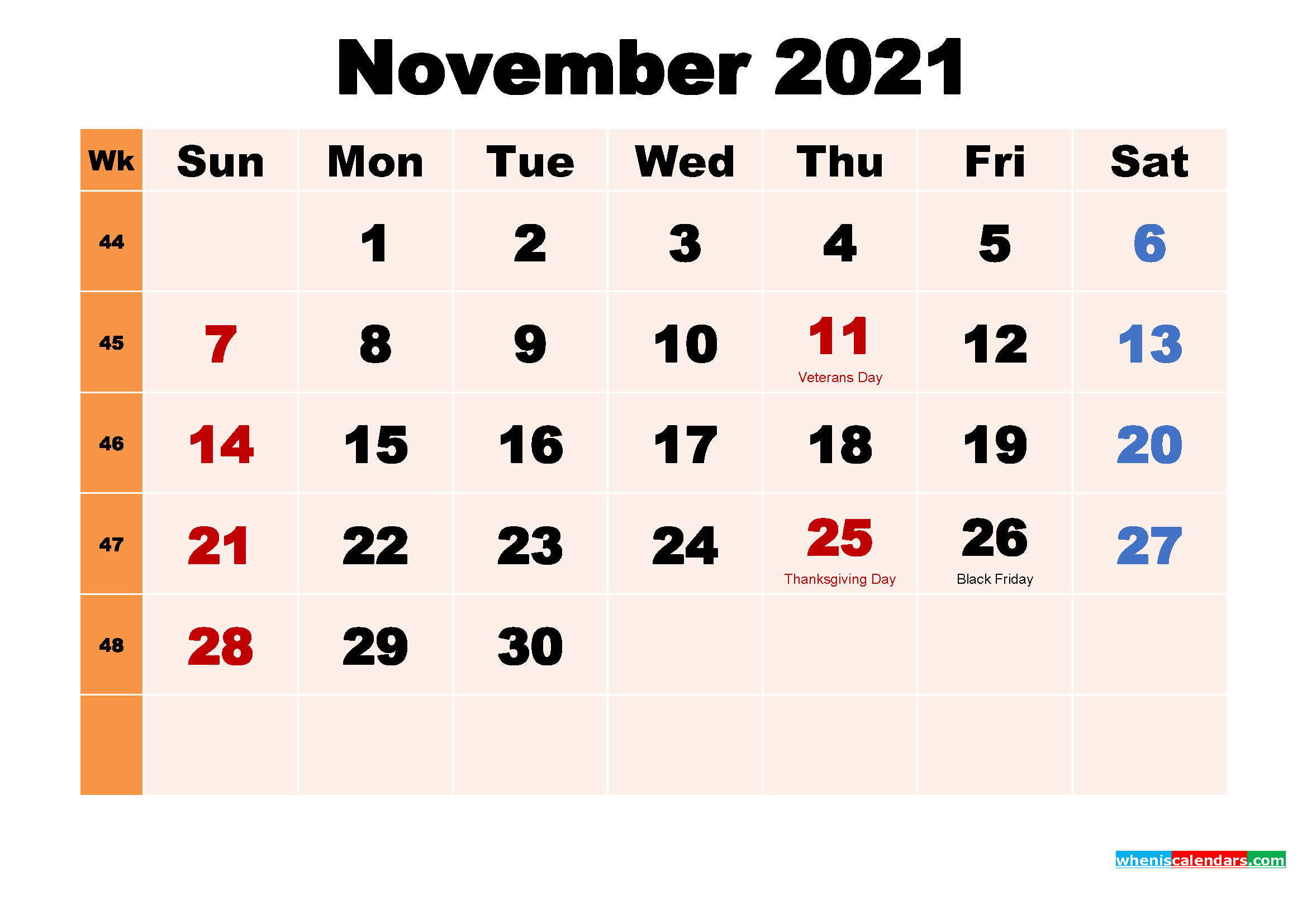 November 2021 Printable Calendar with Holidays Word, PDF