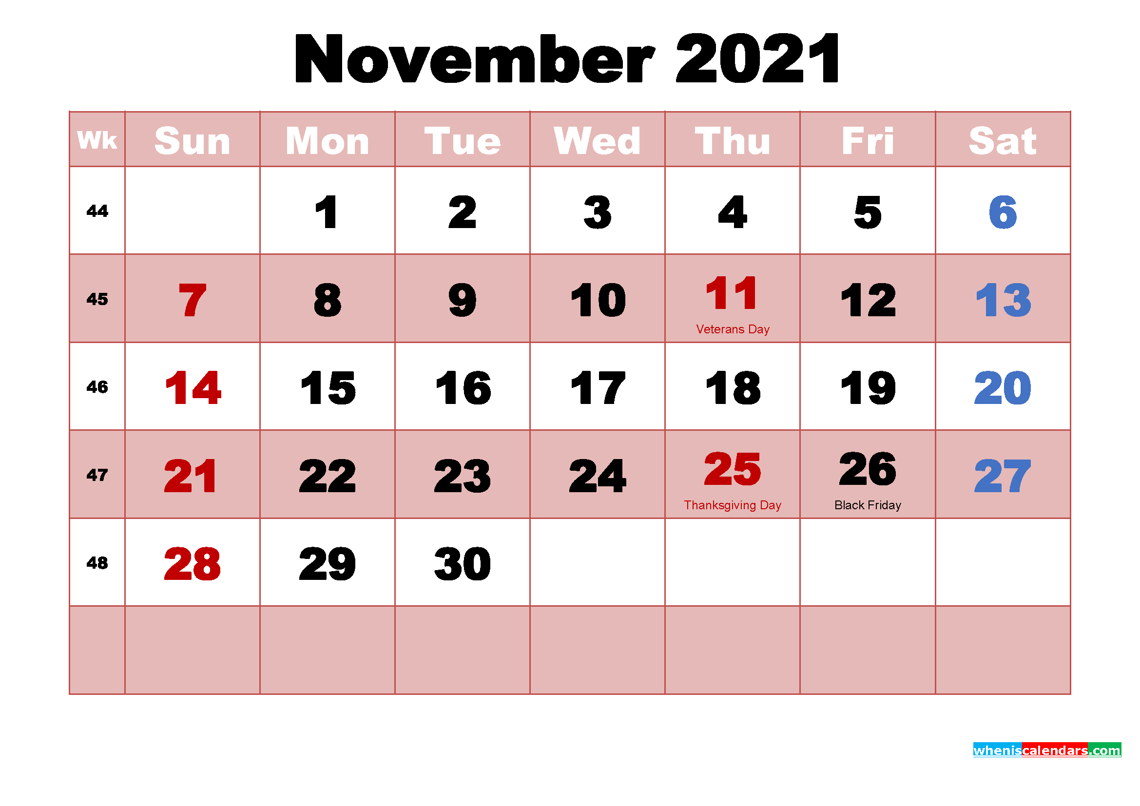 November 2021 Calendar with Holidays Wallpaper