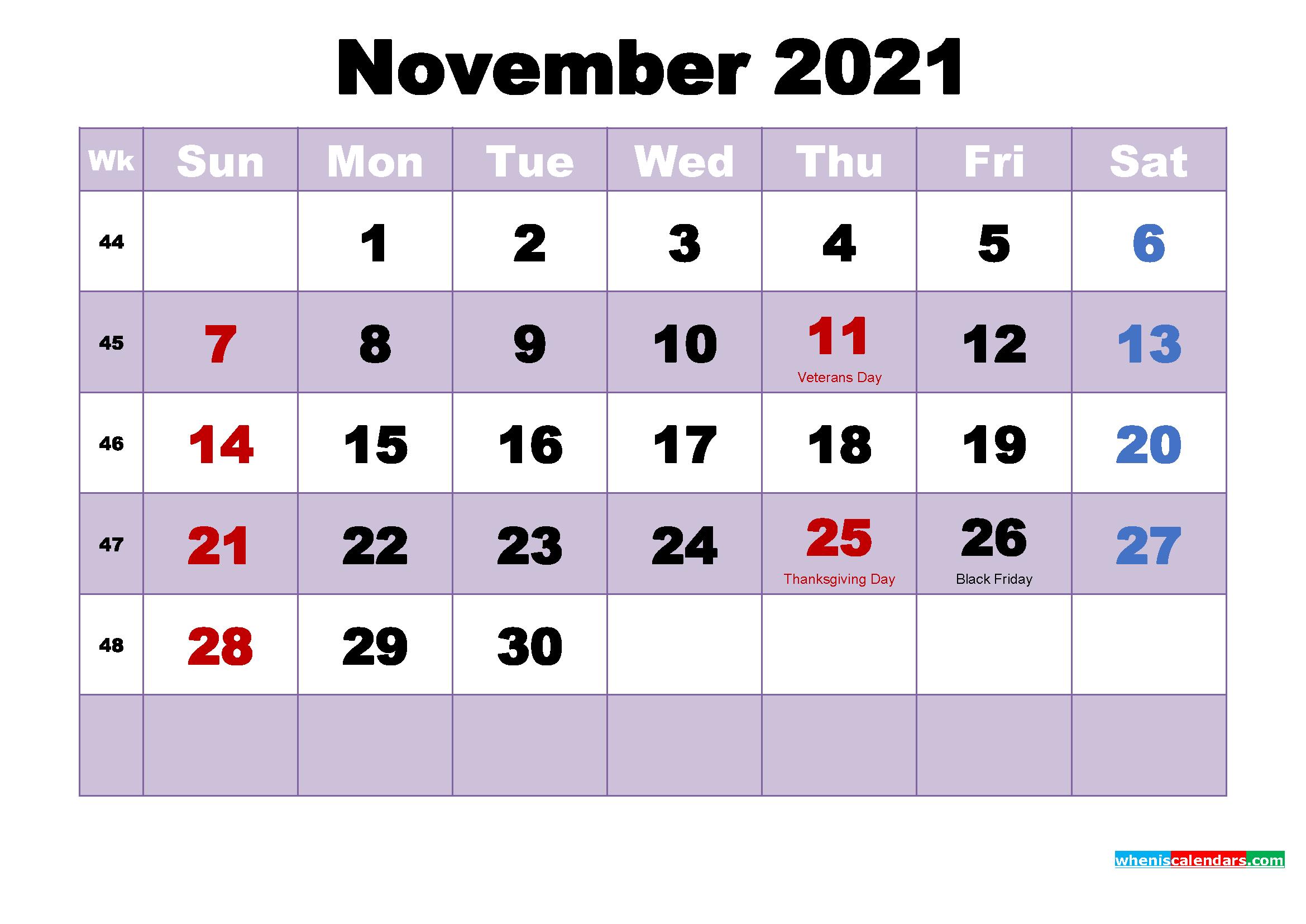 Printable 2021 Calendar with Holidays November