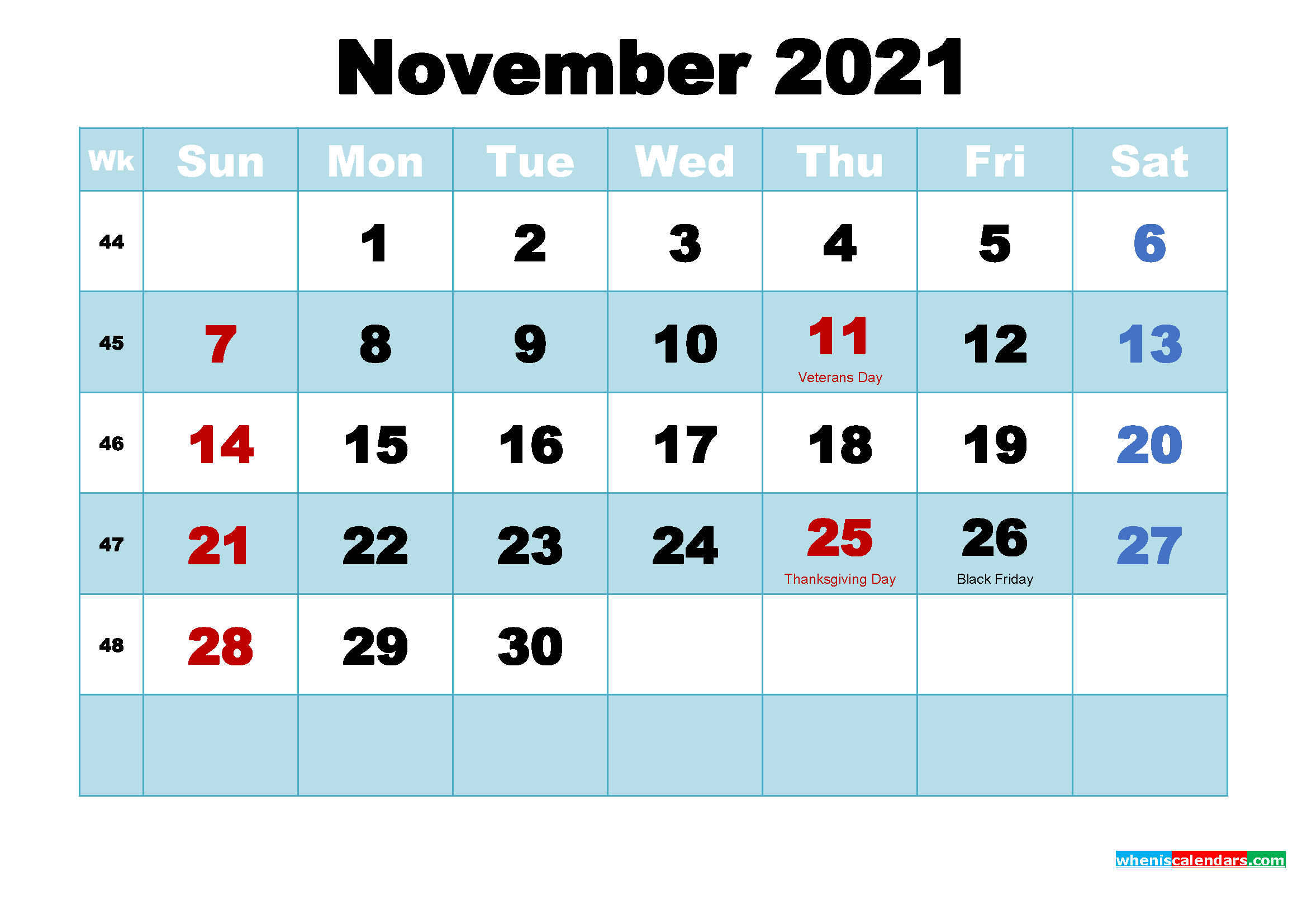 Free Printable 2021 Calendar with Holidays November