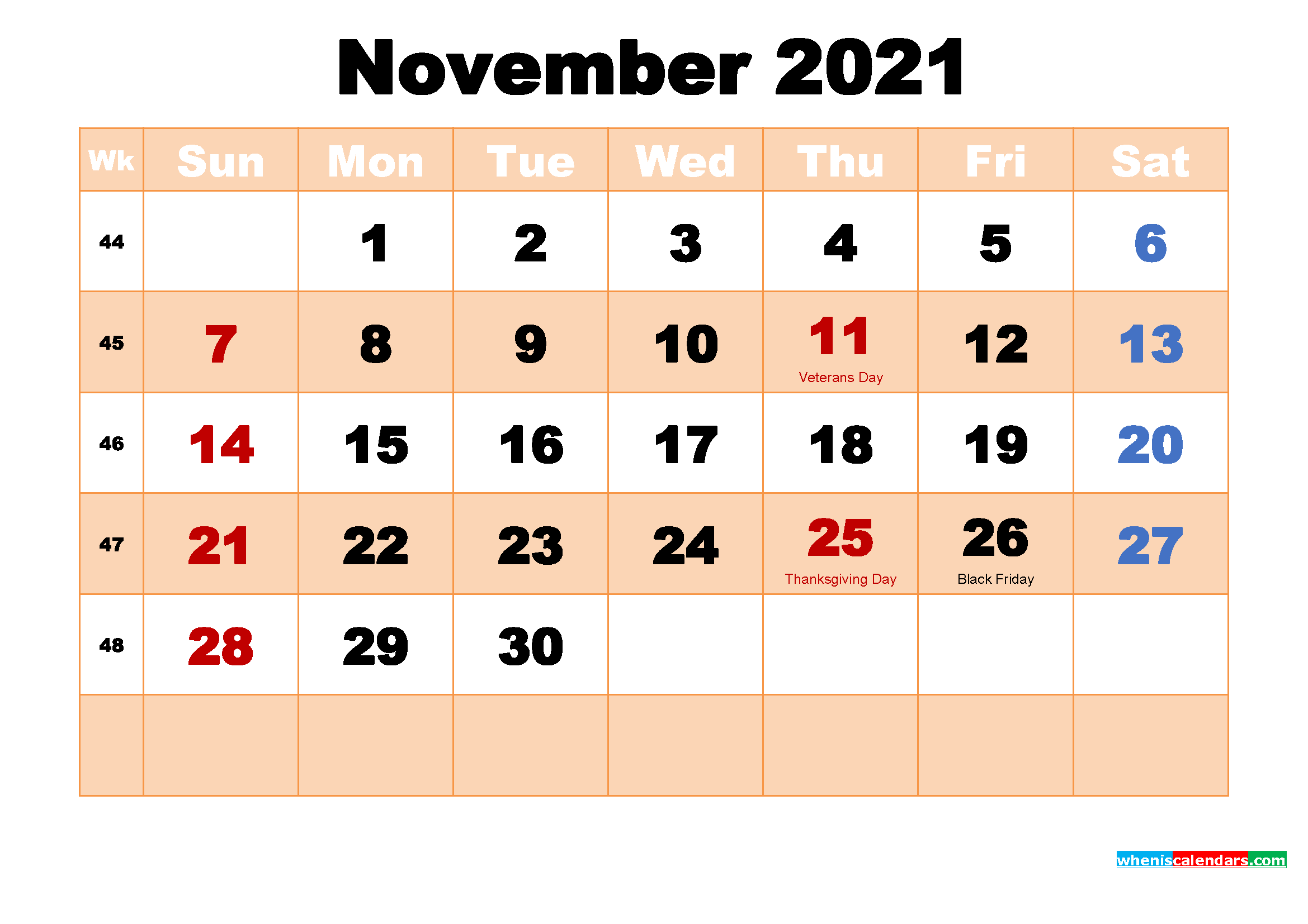 November 2021 Desktop Calendar Monthly