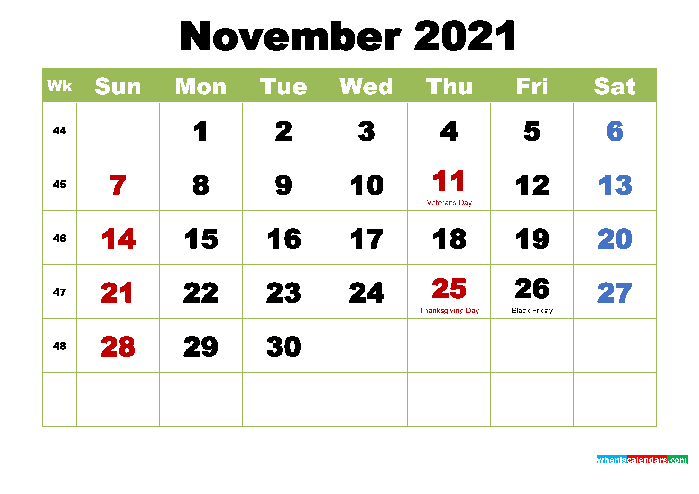 Free Printable 2021 Calendar with Holidays November – Free