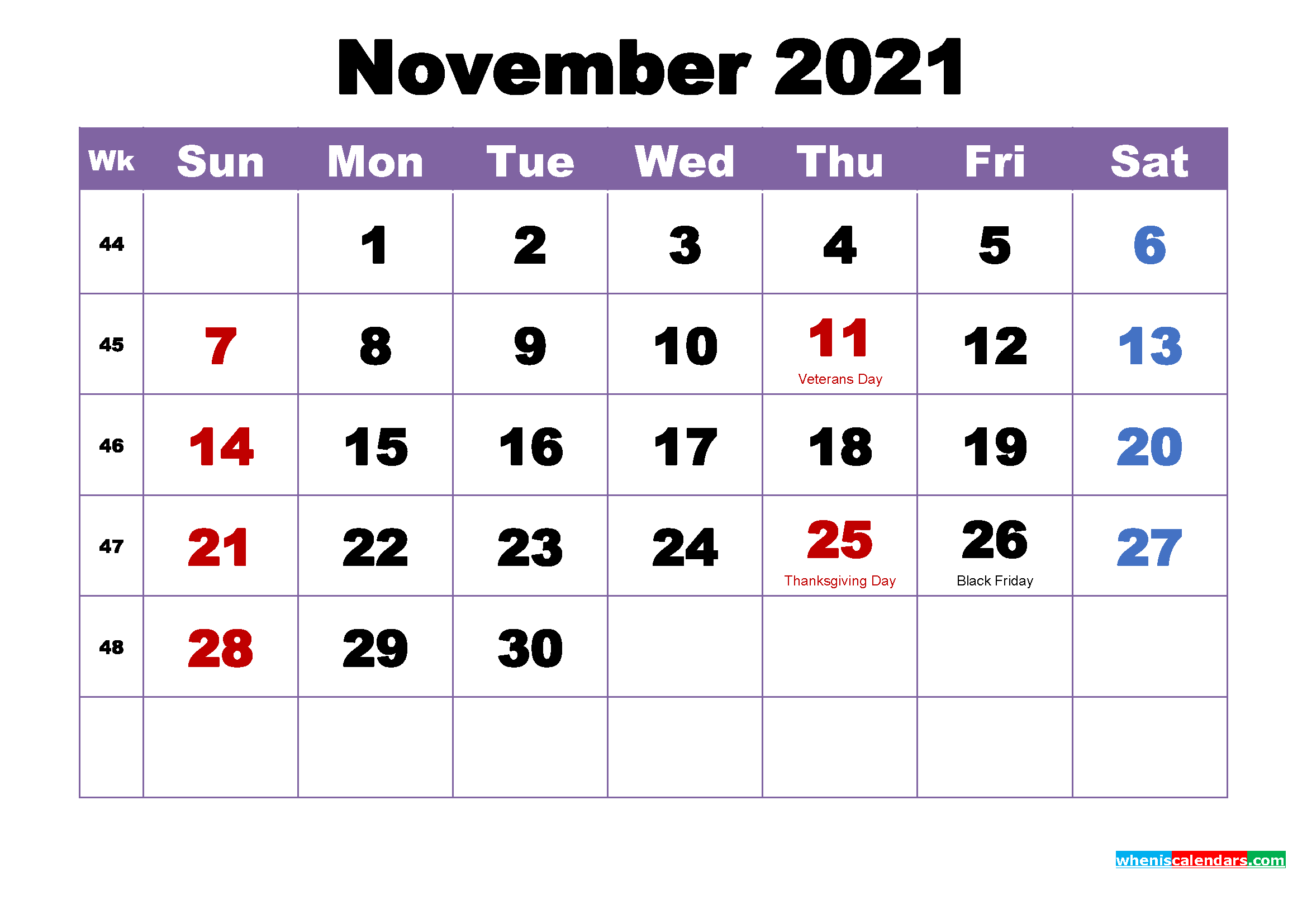 Photos of November Month Calendar 2021 Printable