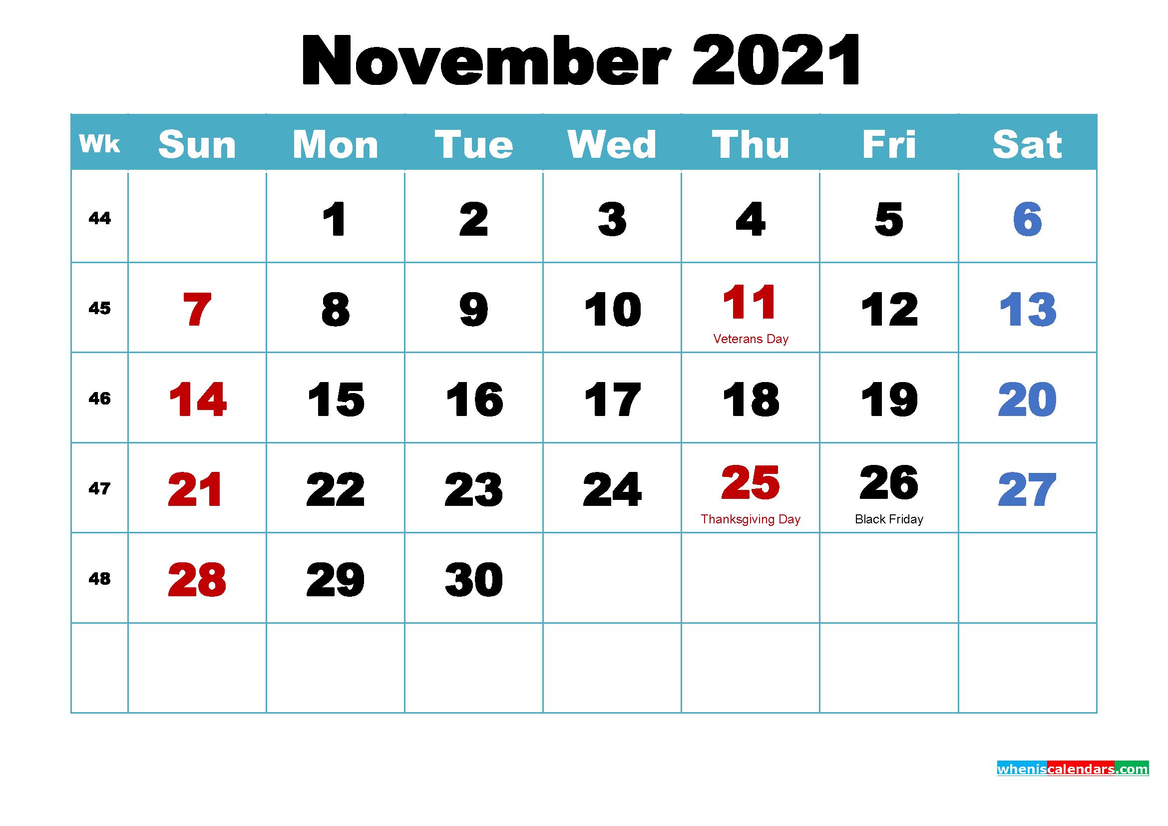 Printable November 2021 Calendar by Month