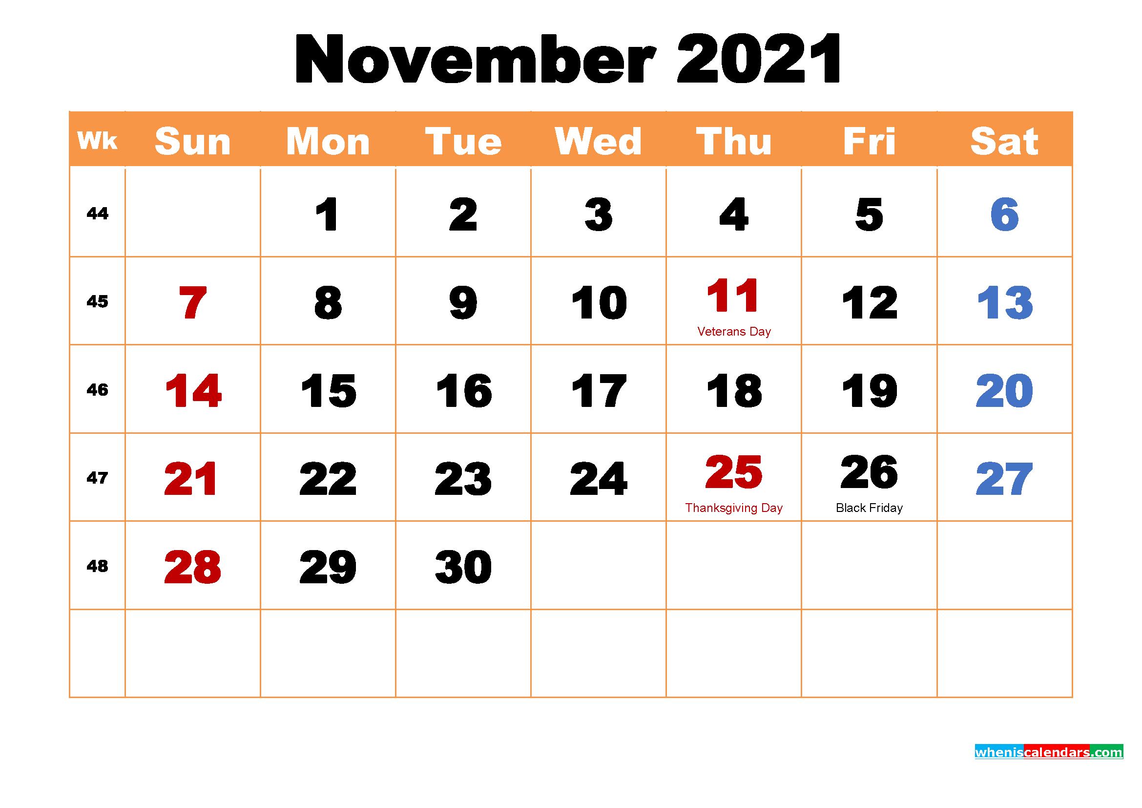 November 2021 Calendar Wallpaper High Resolution