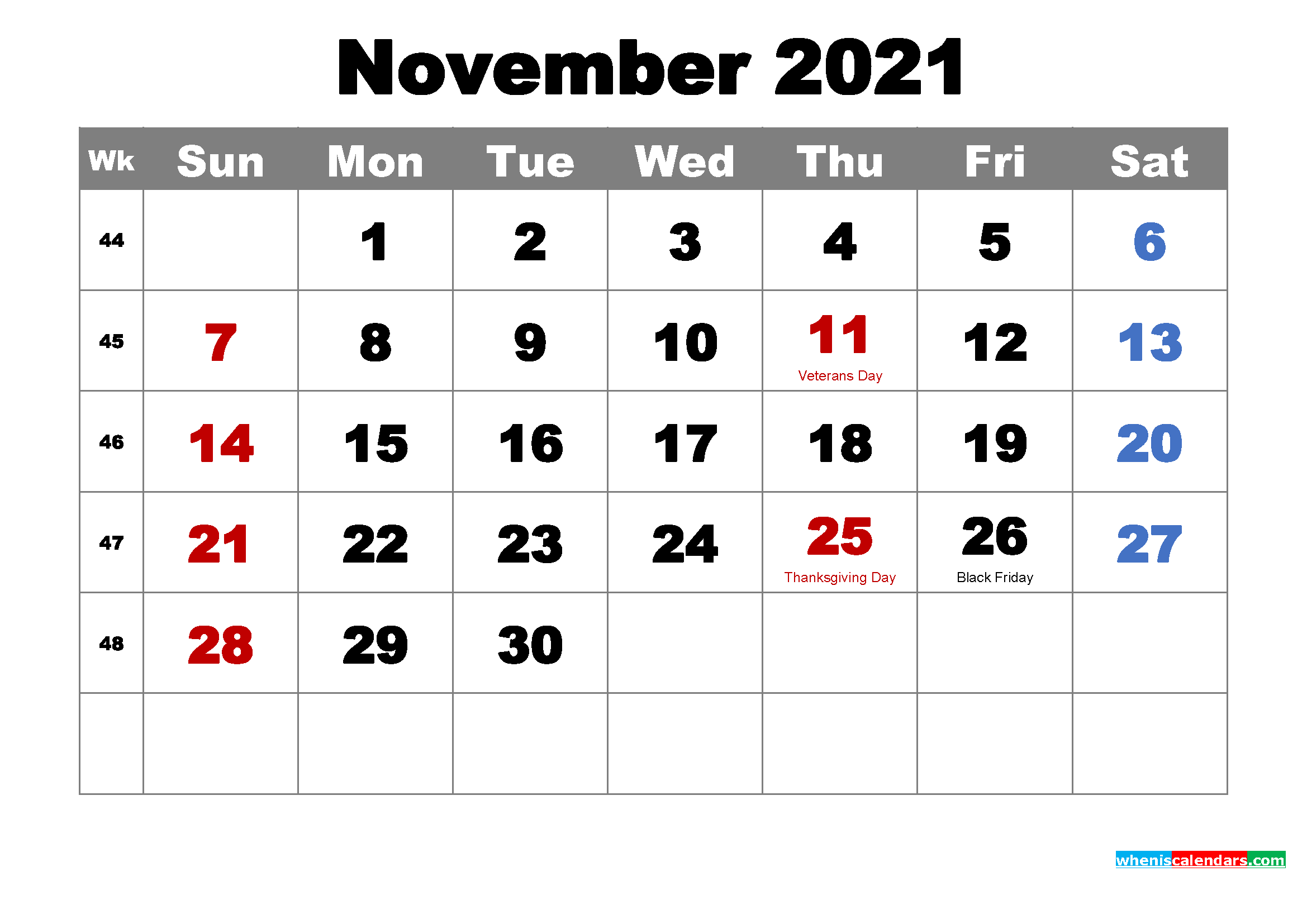 Free Printable November 2021 Calendar Wallpaper