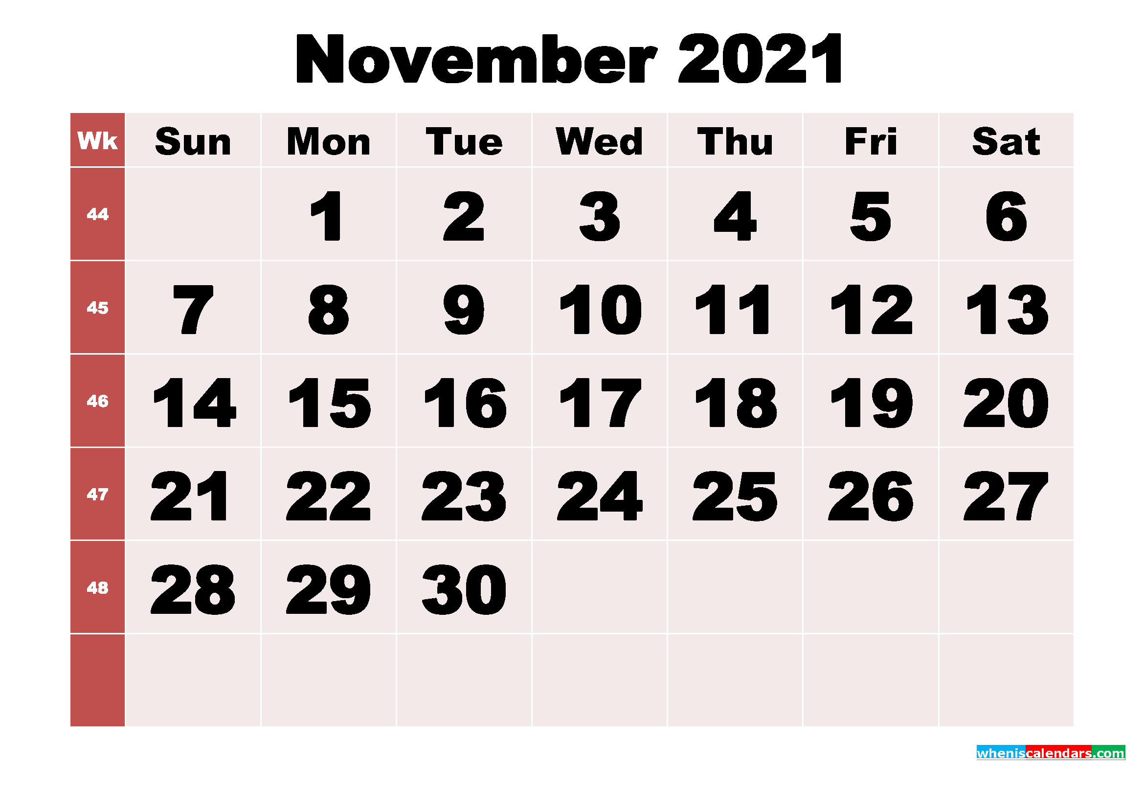 Free Printable Monthly Calendar November 2021