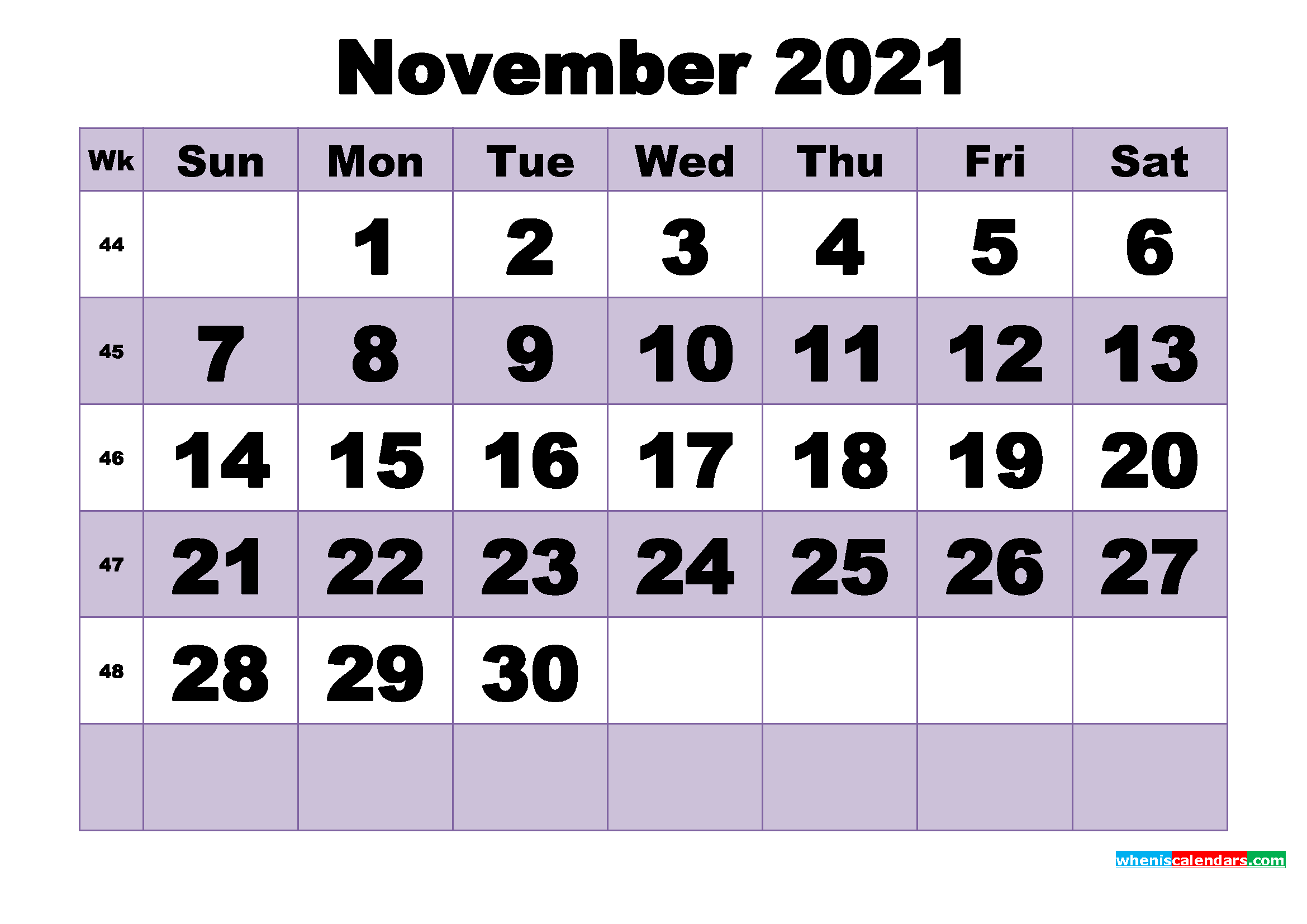 Free November 2021 Printable Monthly Calendar Template