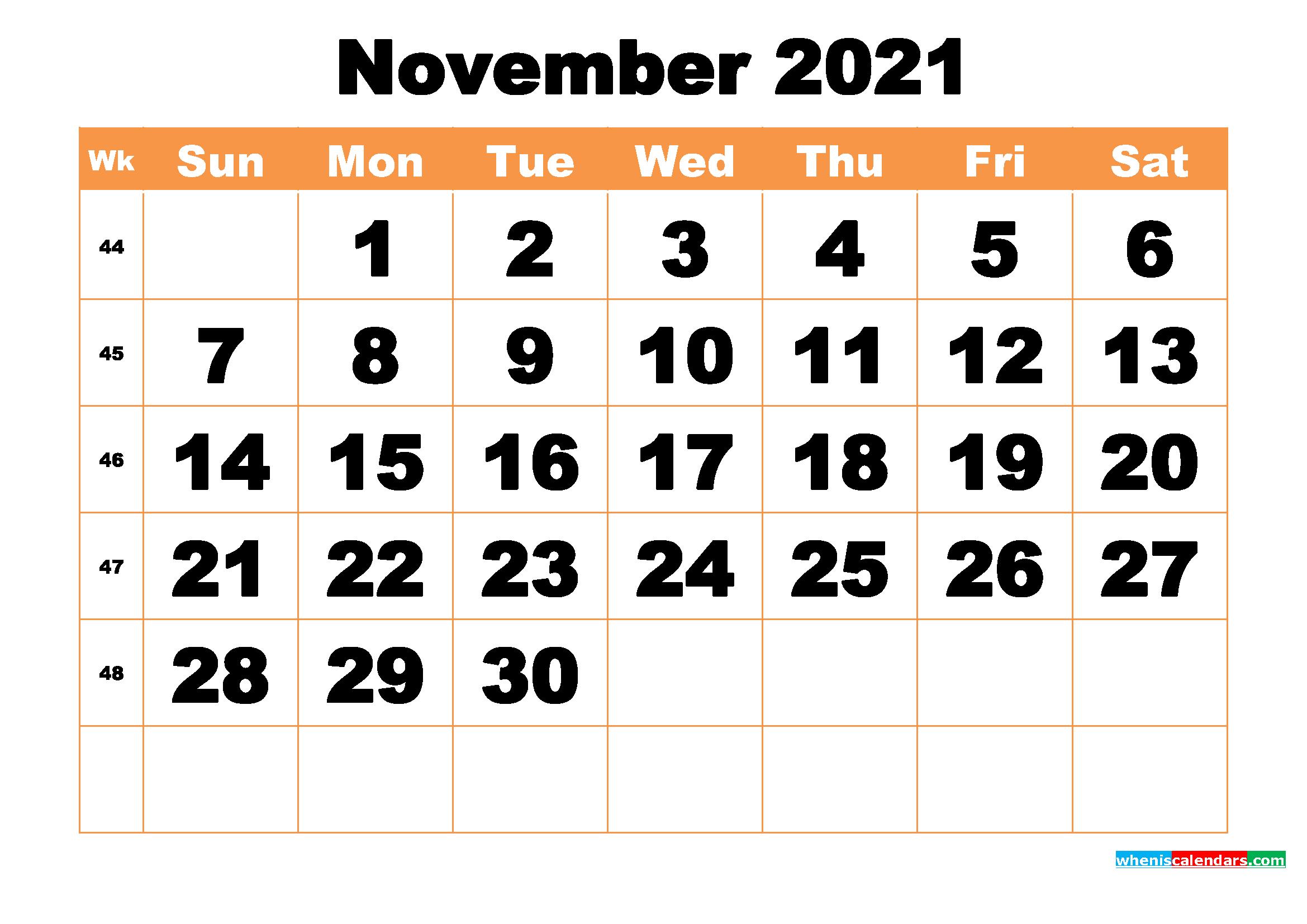 Free Printable November 2021 Calendar Word, PDF, Image ...