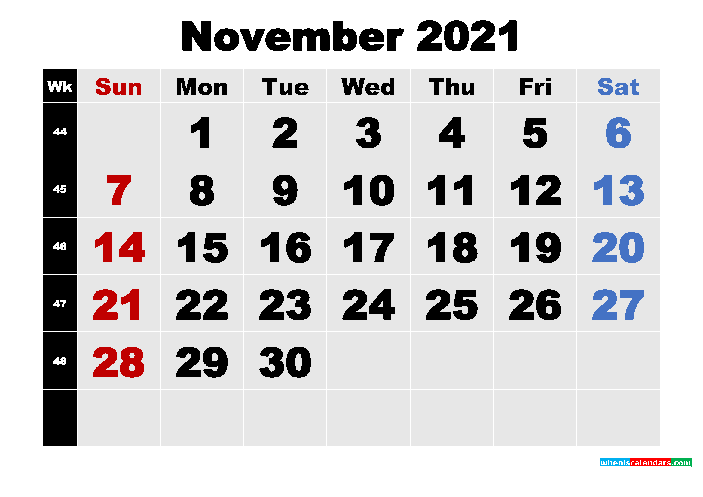 Free Printable November 2021 Calendar Template Word, PDF