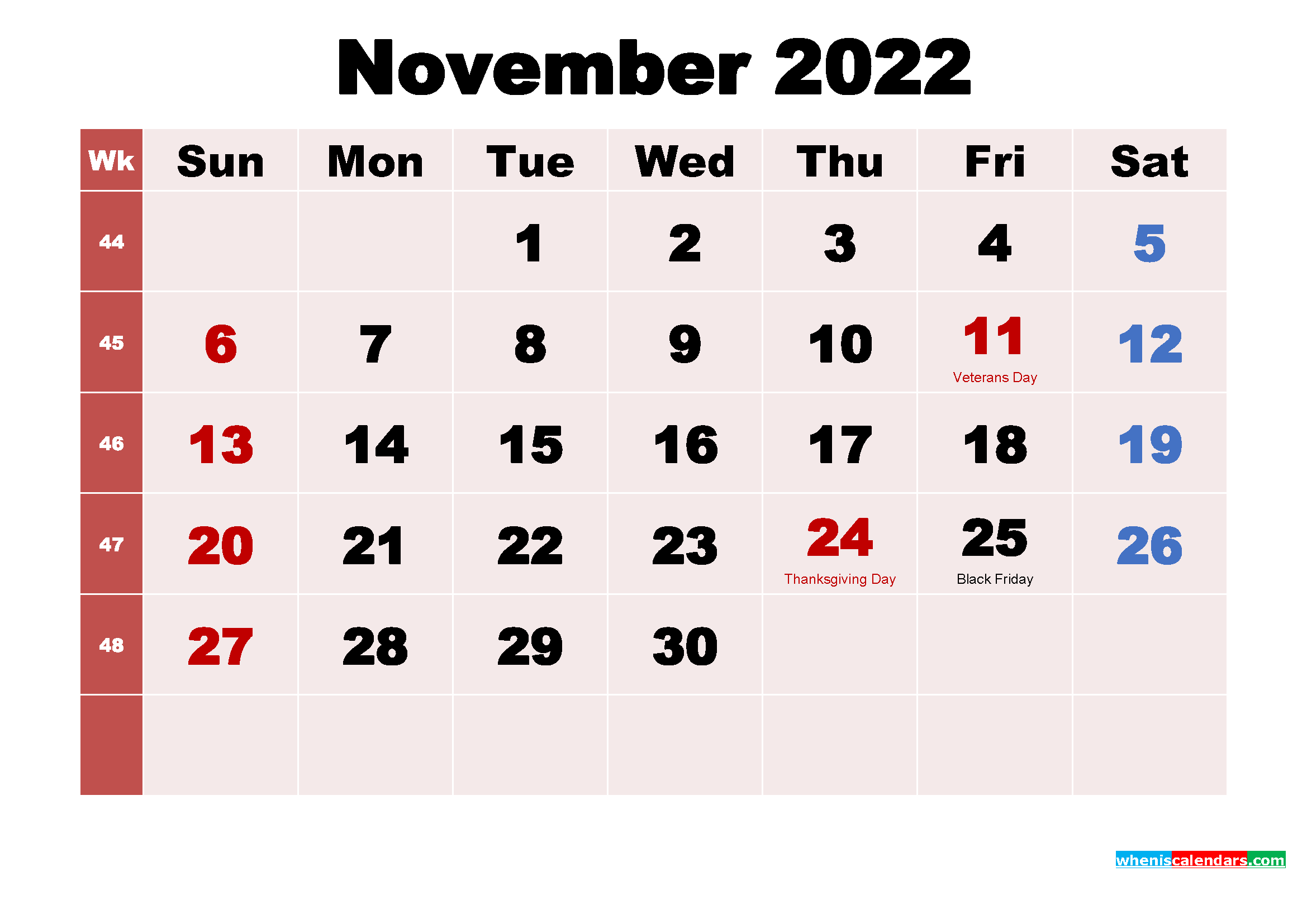 Free Printable November 2022 Calendar with Holidays as Word, PDF