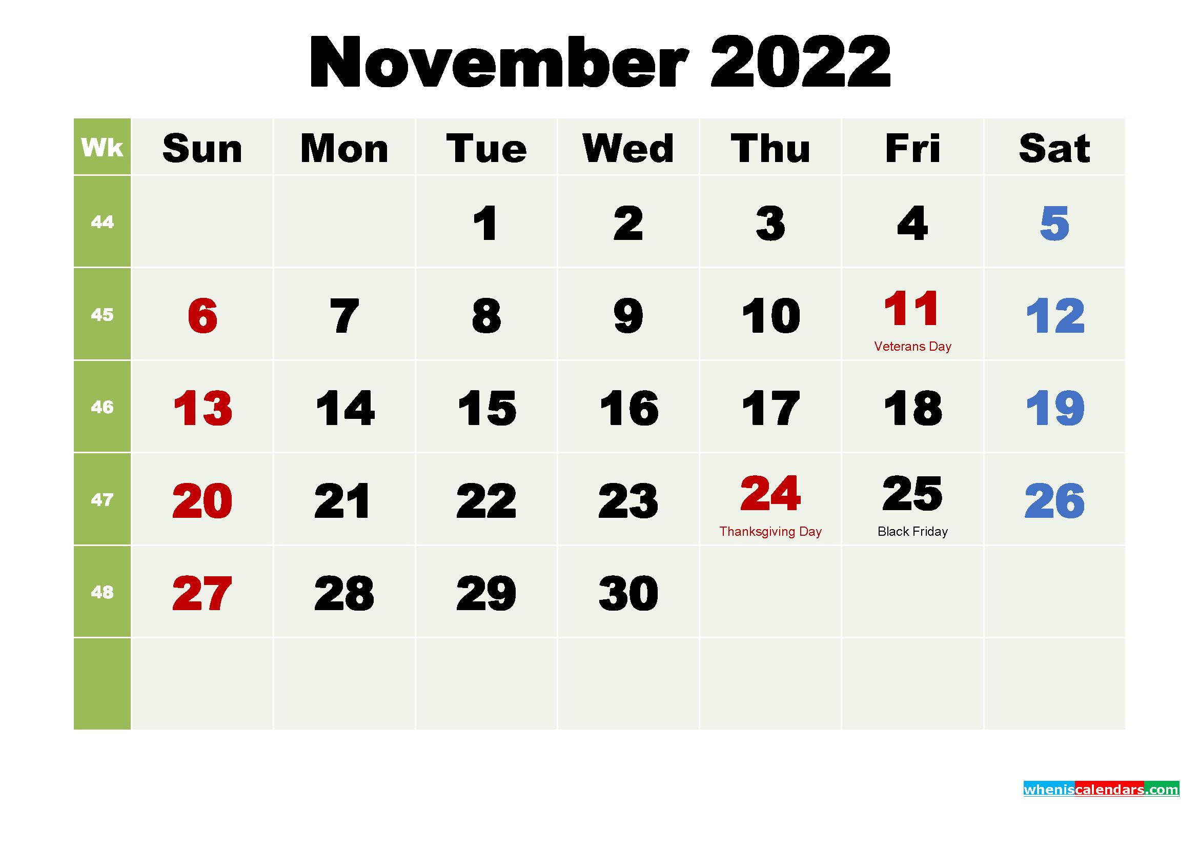 Printable November 2022 Calendar by Month