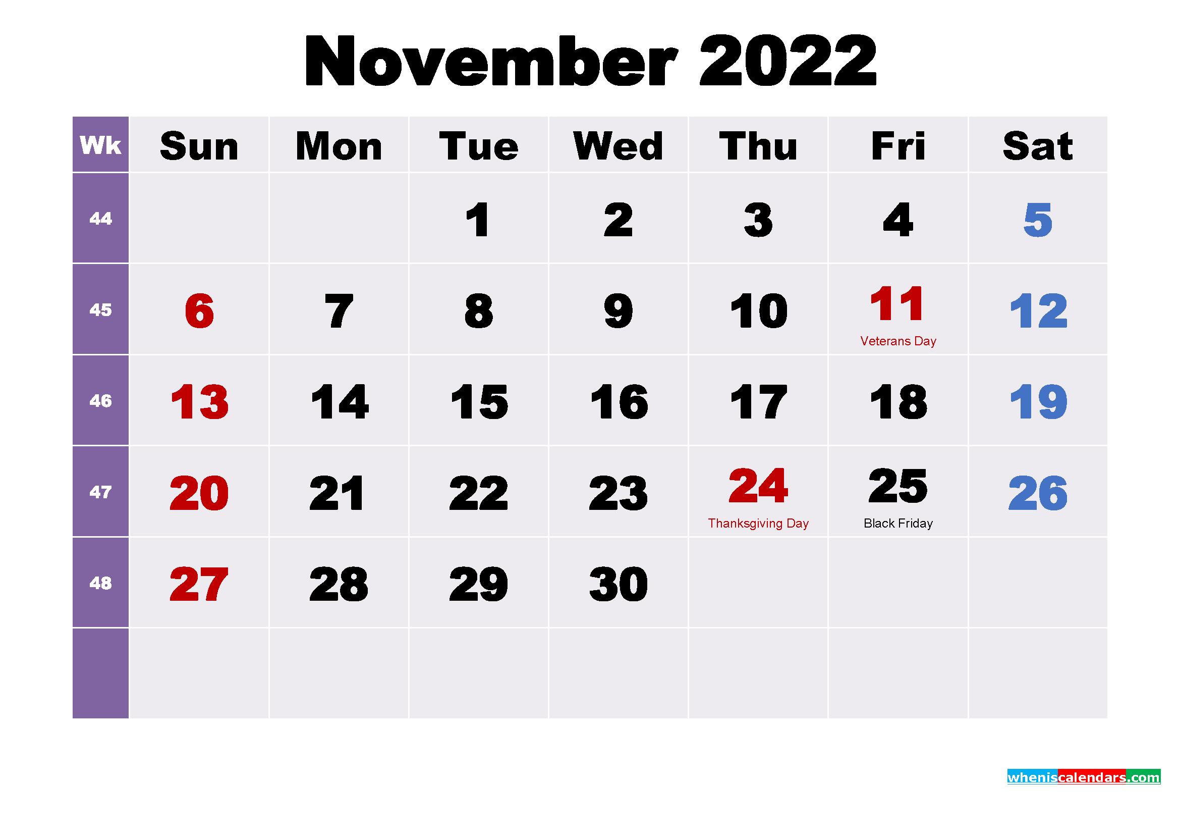 Printable November 2022 Calendar.November 2022 Desktop Calendar Free Download Free Printable 2021 Monthly Calendar With Holidays