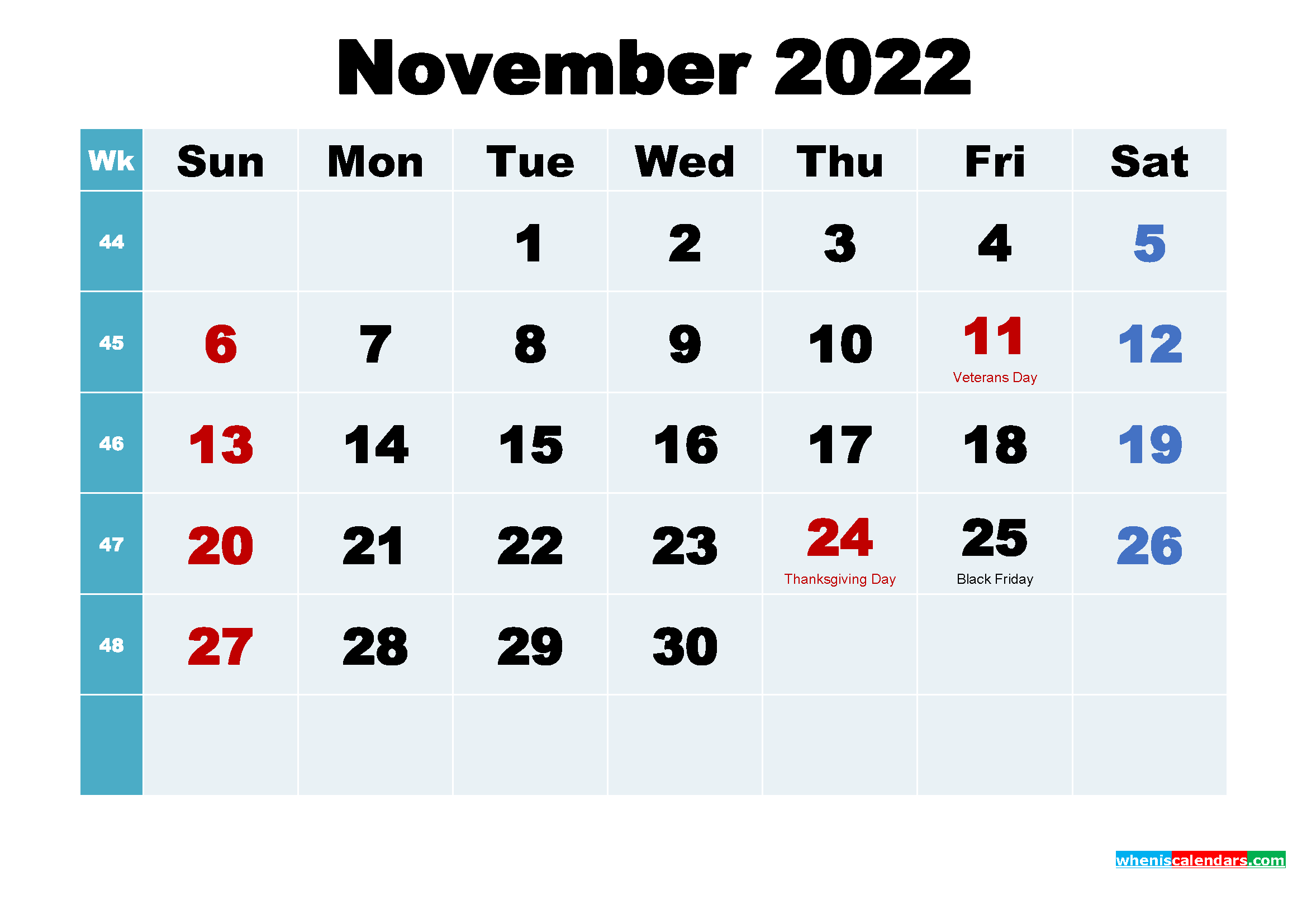 November 2022 Calendar with Holidays Printable