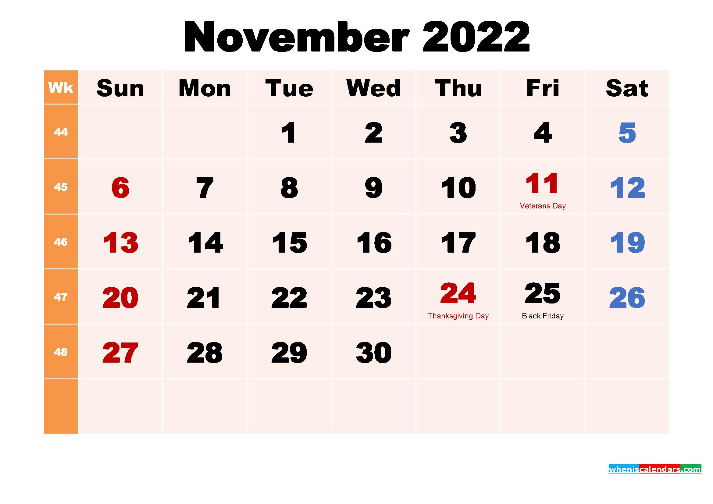 Free Printable 2022 Calendar with Holidays November