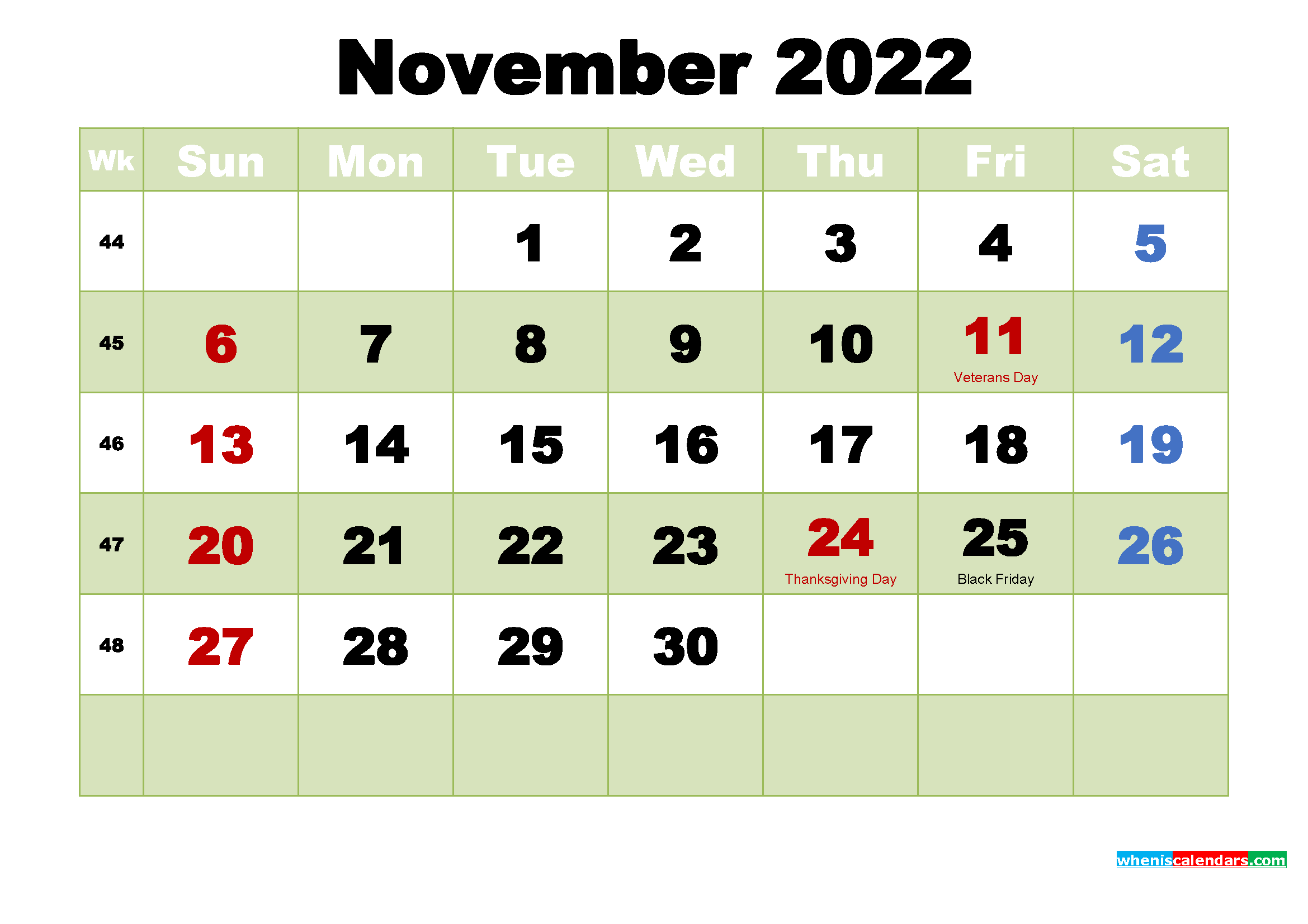 November 2022 Desktop Calendar Free Download