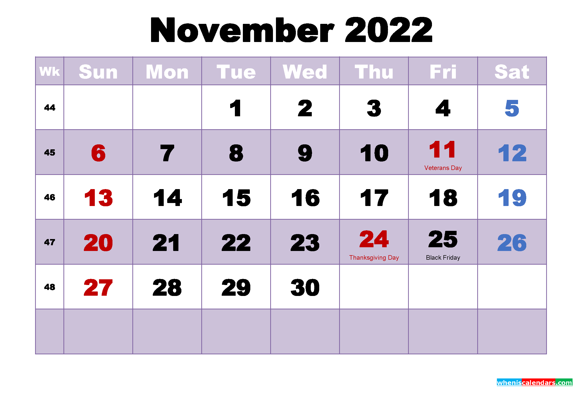 Printable 2022 Calendar with Holidays November
