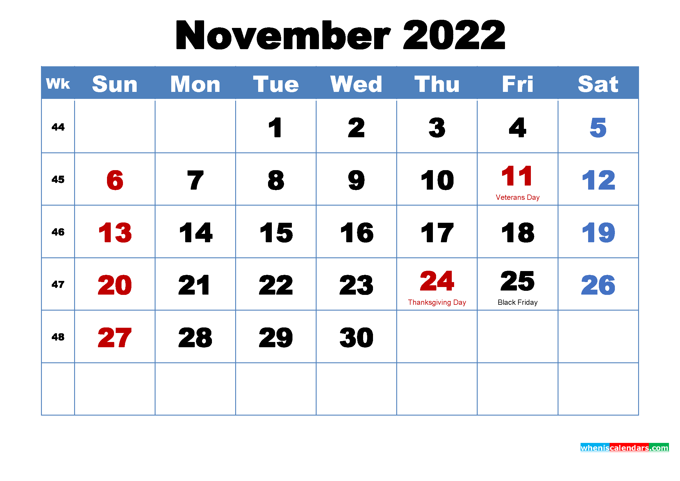 Printable 2022 Calendar by Month November