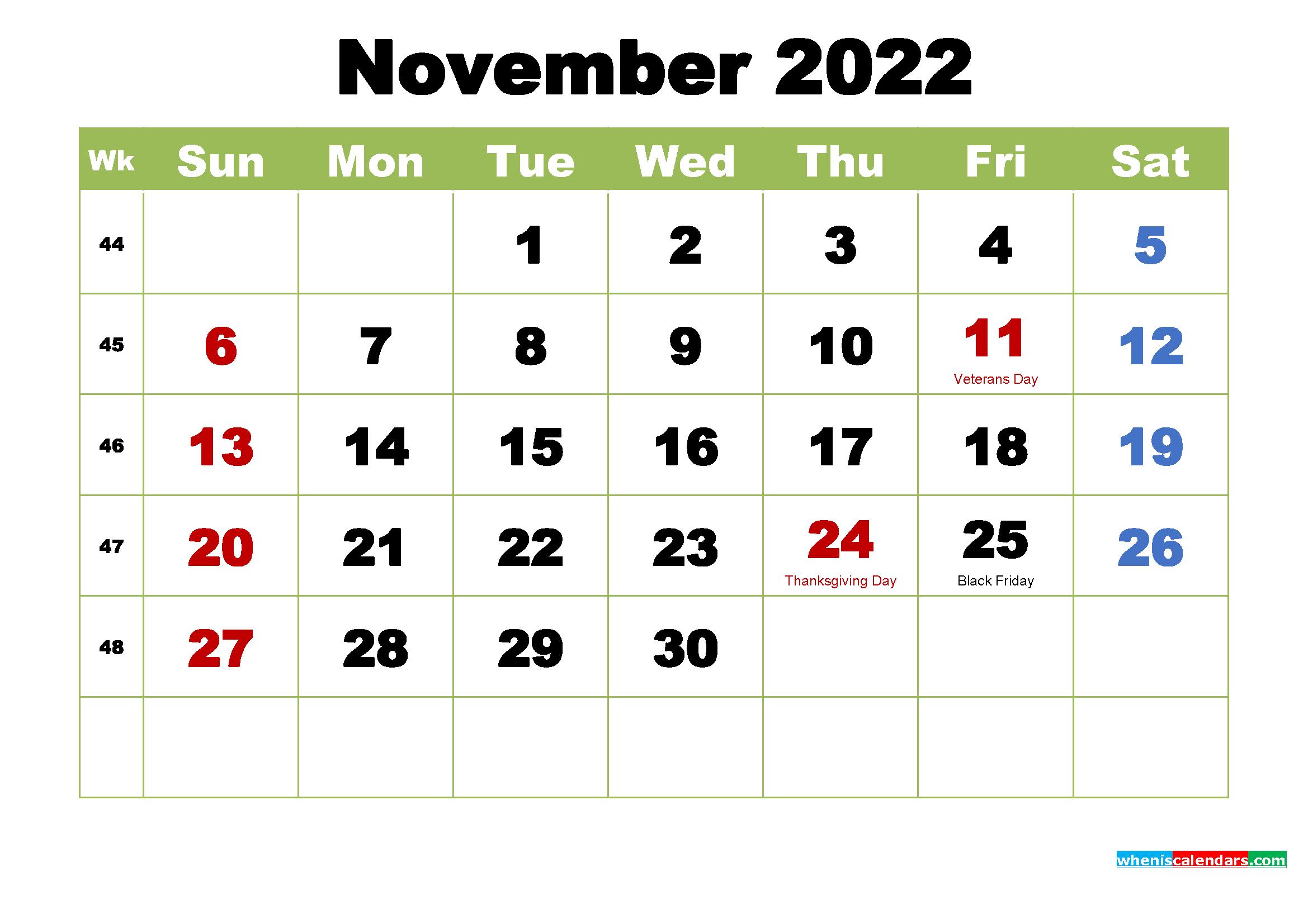 November 2022 Desktop Calendar with Holidays