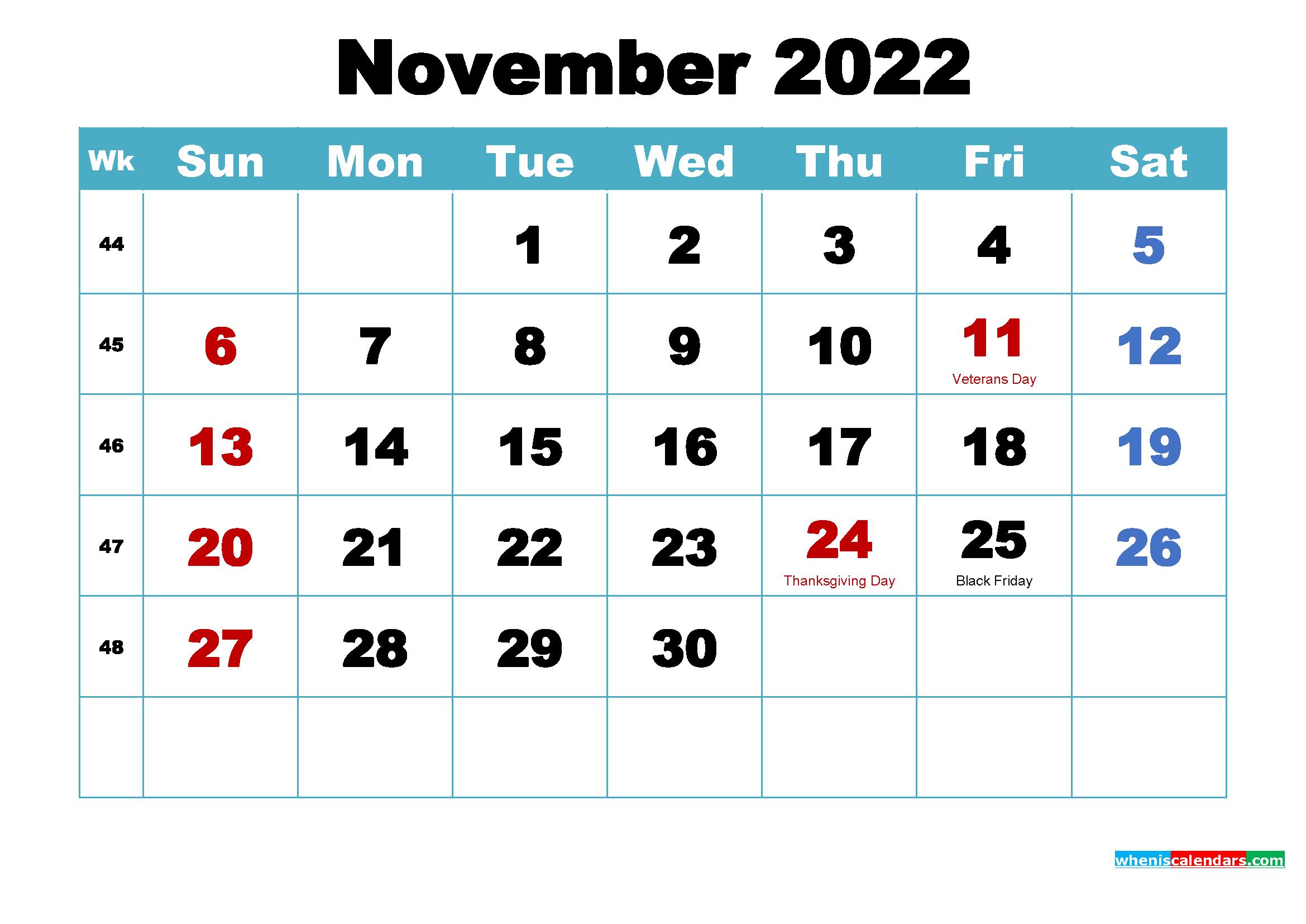Printable November 2022 Calendar.November 2022 Calendar Wallpaper Free Download Free Printable 2021 Monthly Calendar With Holidays