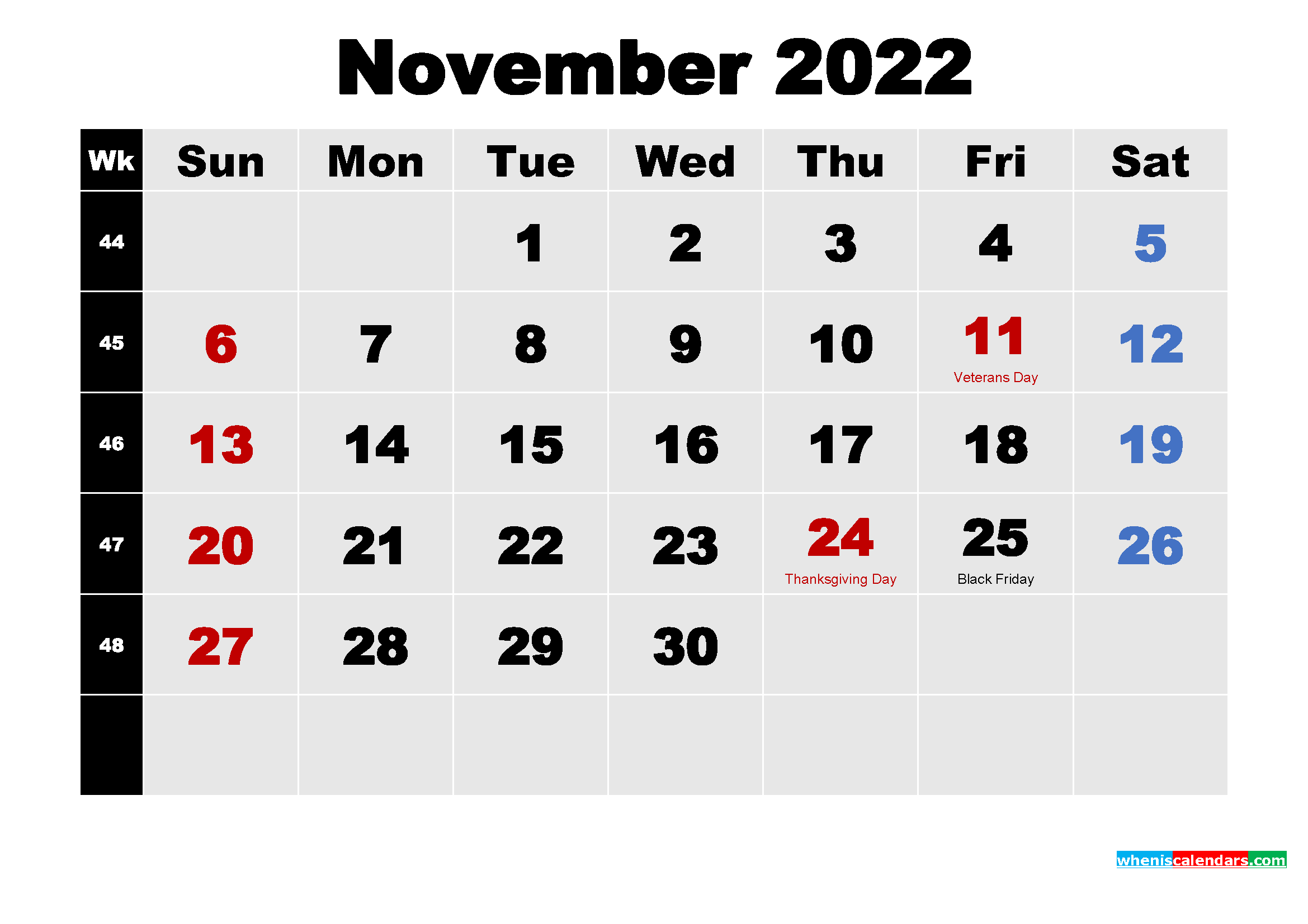 November 2022 Calendar with Holidays Wallpaper