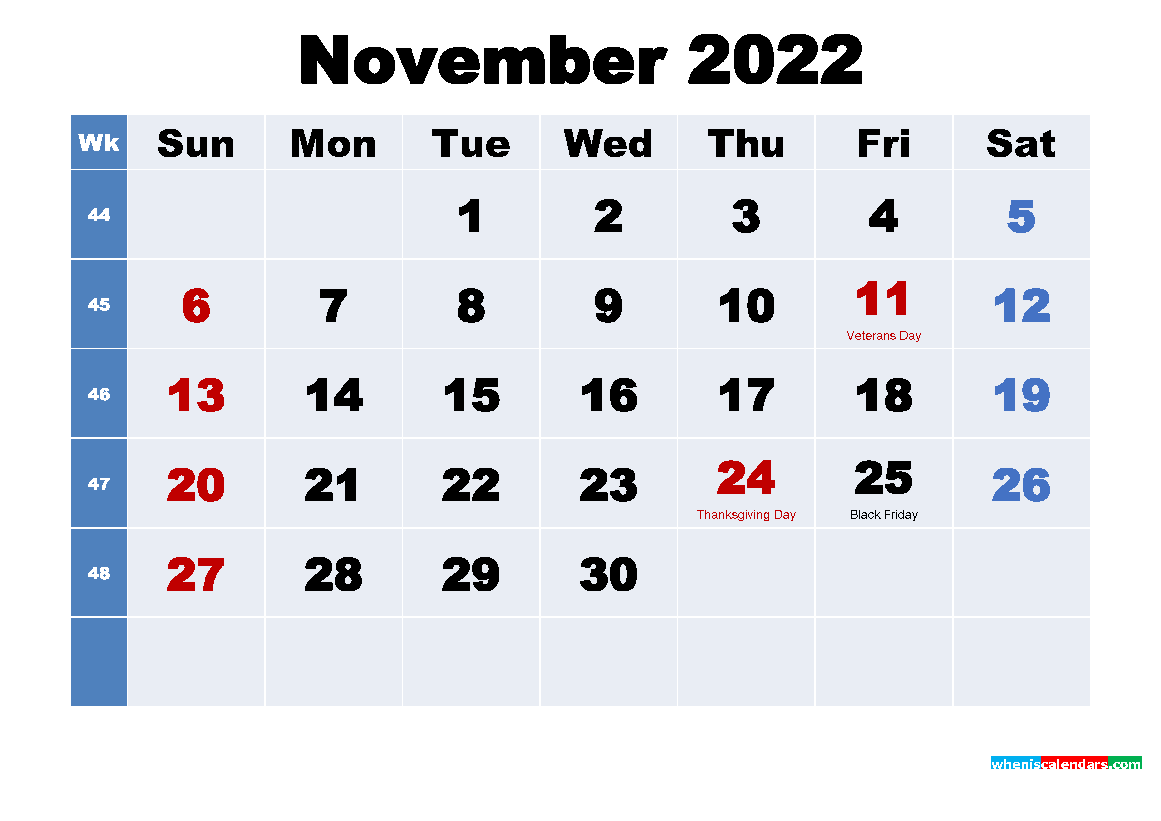 Free Printable 2022 Calendar with Holidays November