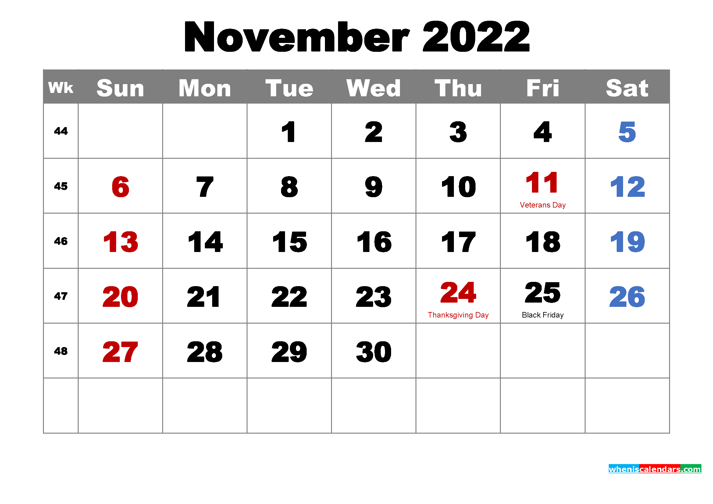 Printable November 2022 Calendar by Month