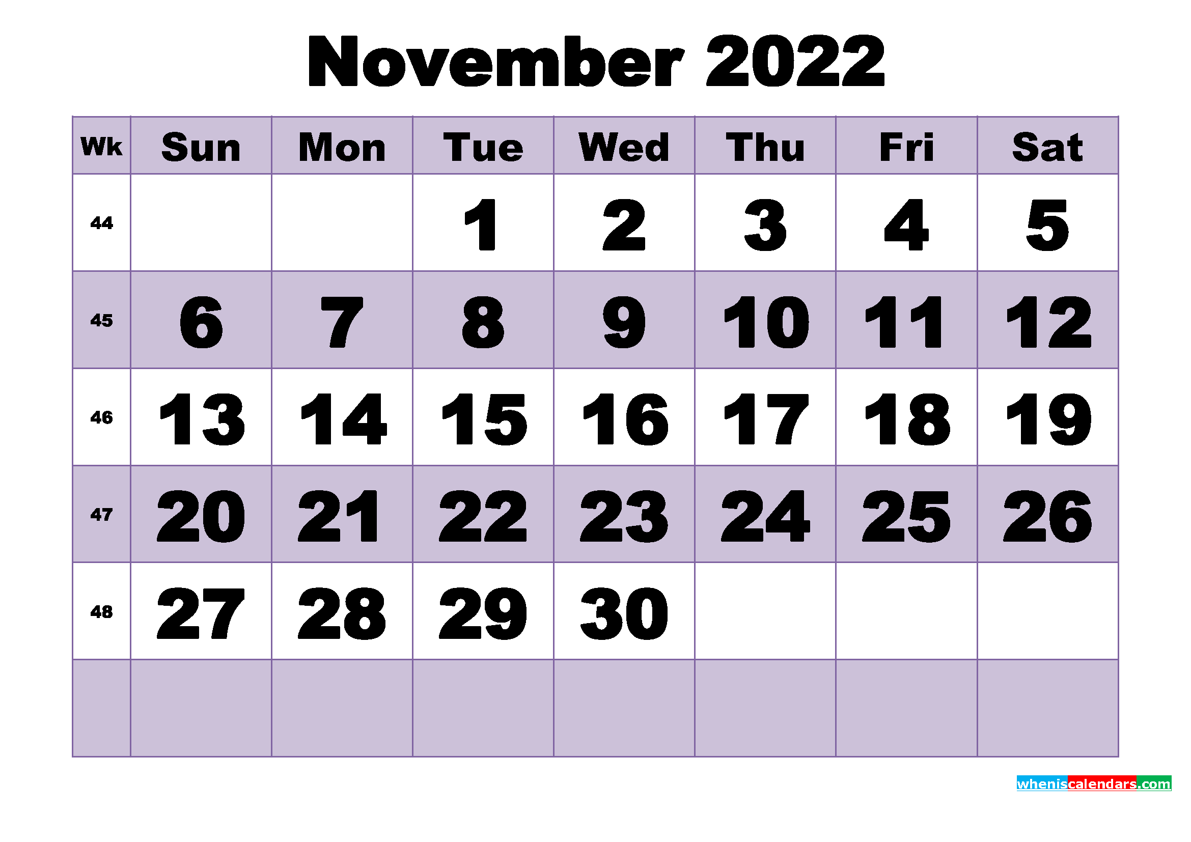 Free November 2022 Printable Monthly Calendar Template