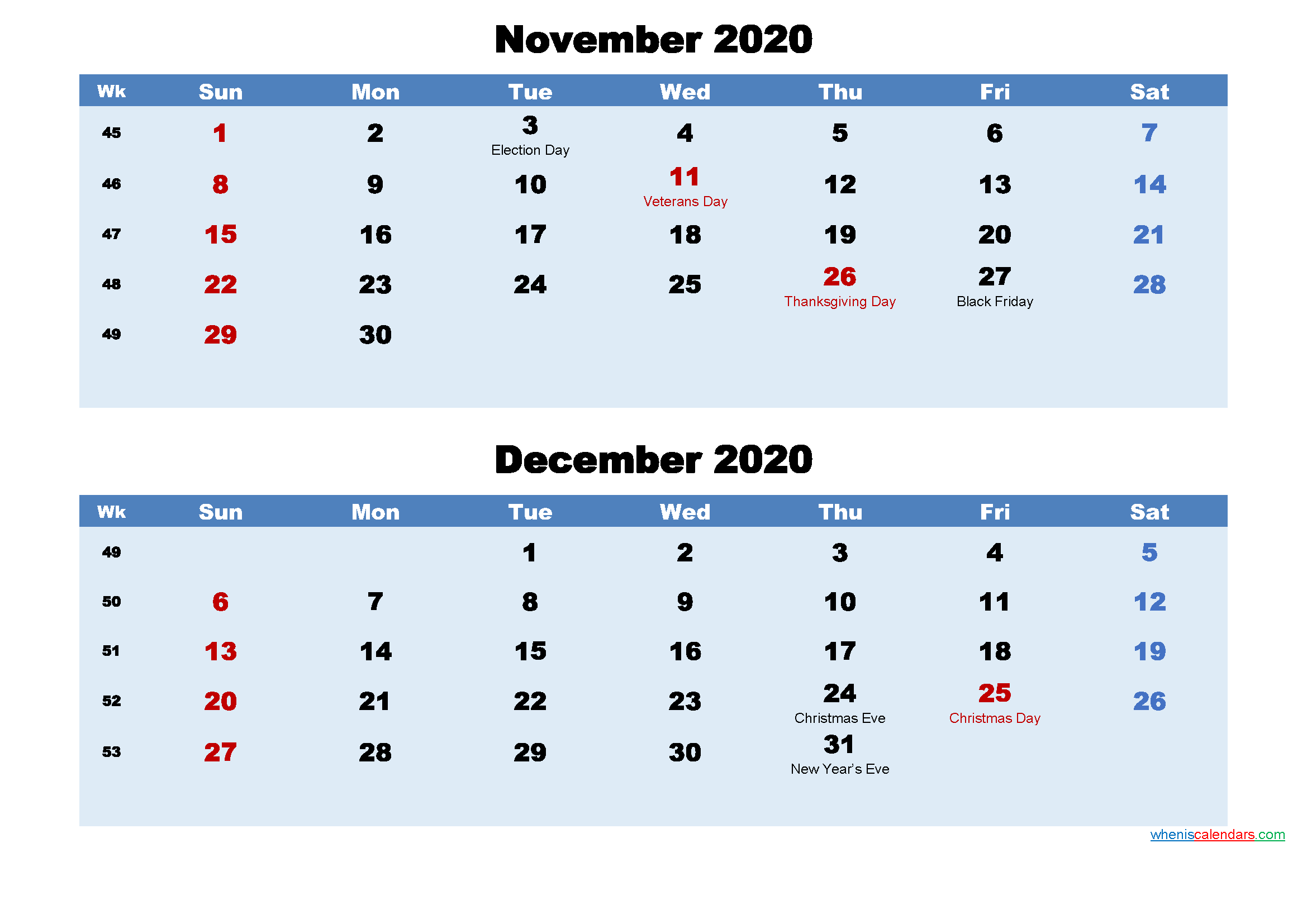 Printable Calendar November and December 2020 Word, PDF