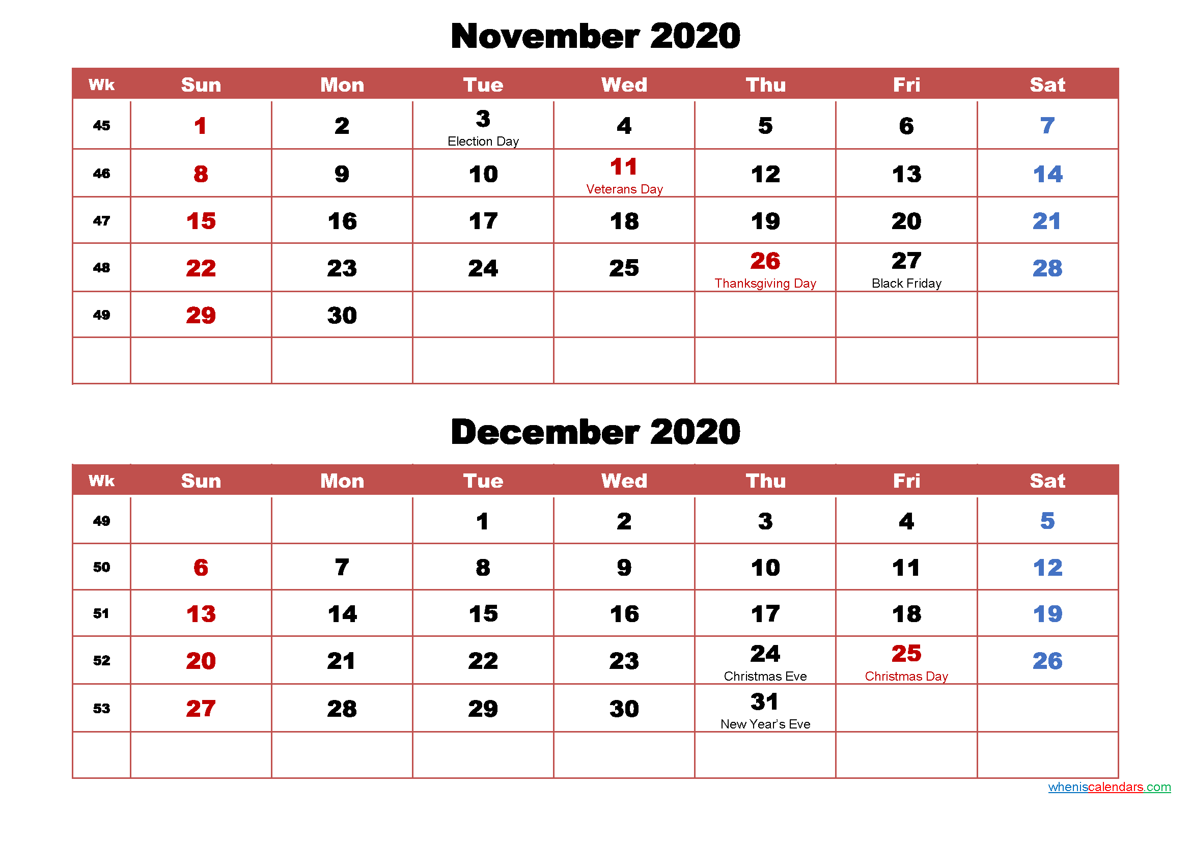 November and December Calendar 2020 Printable Word, PDF
