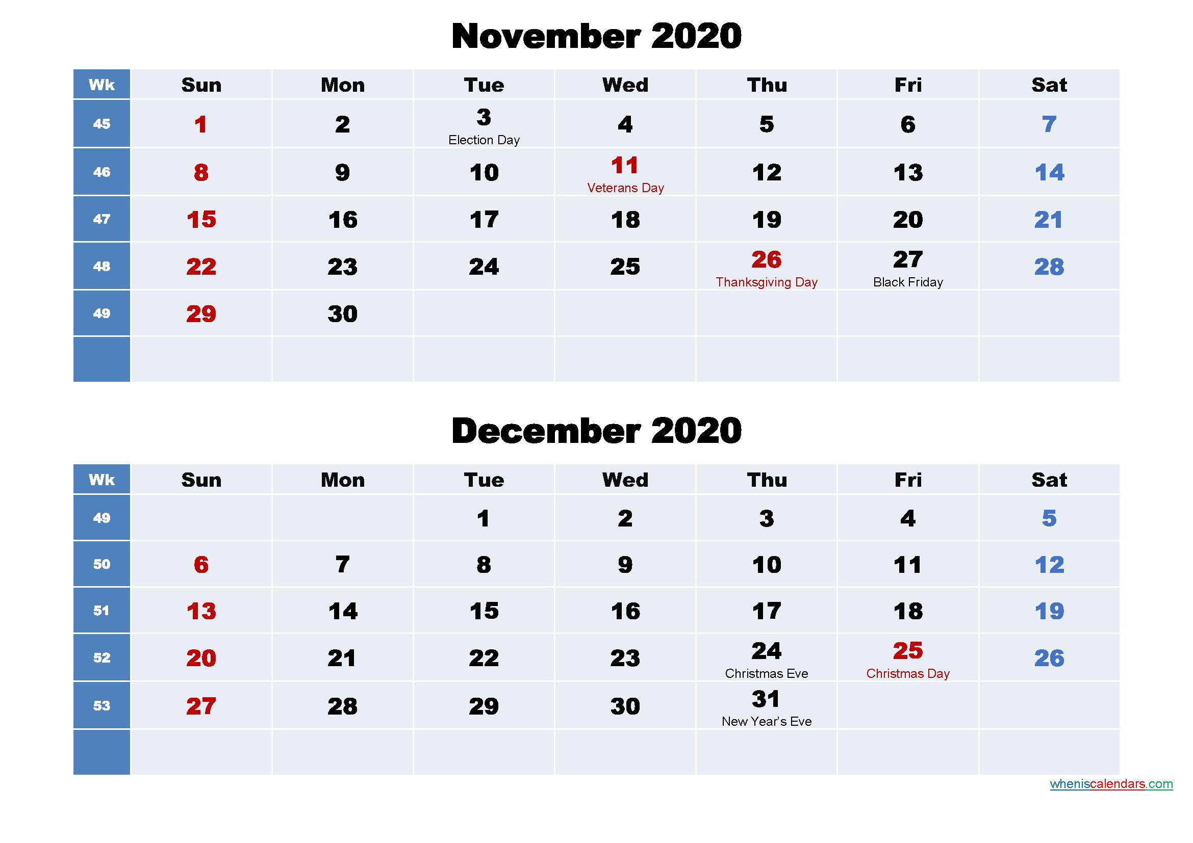 Calendar for November and December 2020 Word, PDF