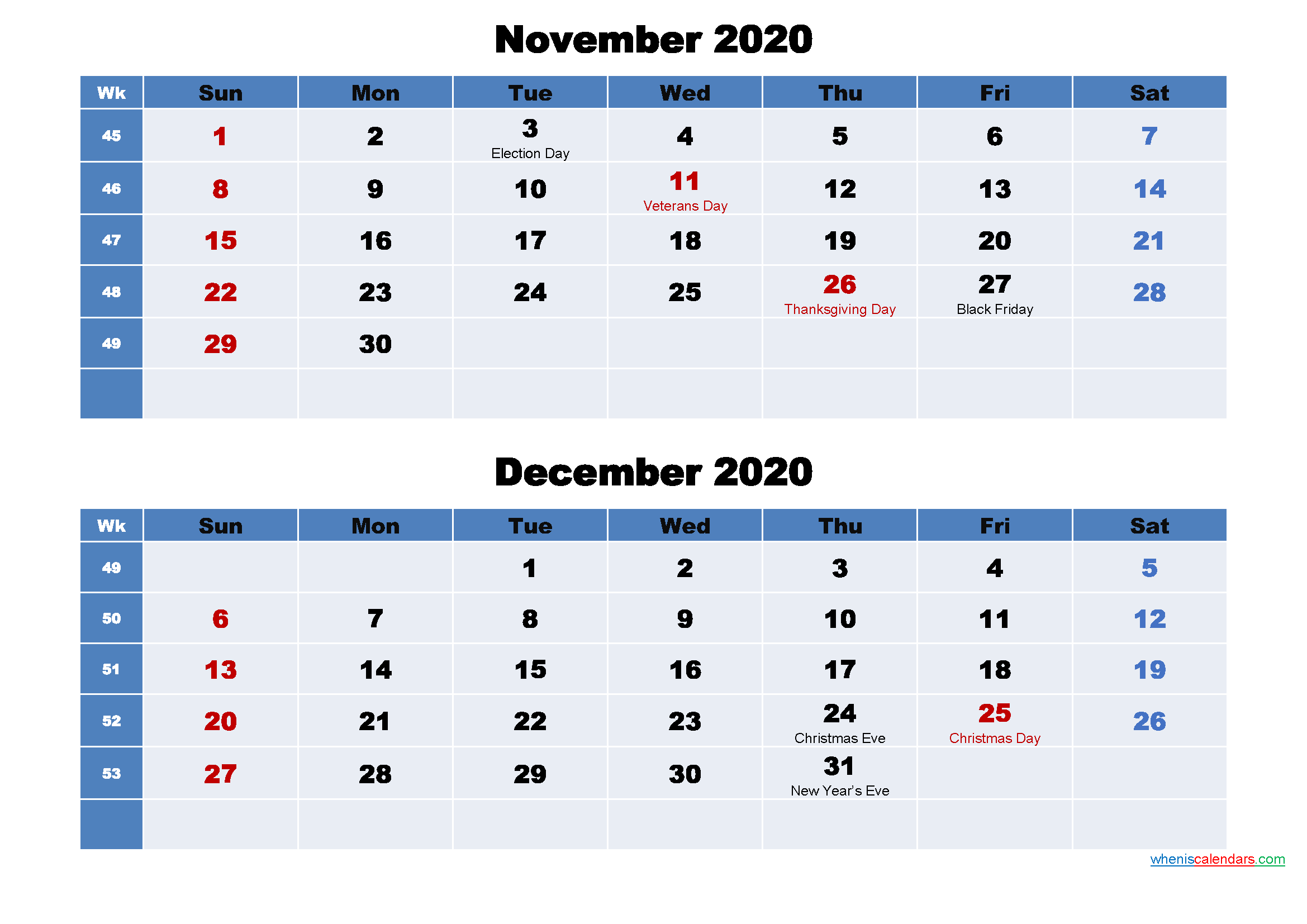 November and December 2020 Calendar with Holidays
