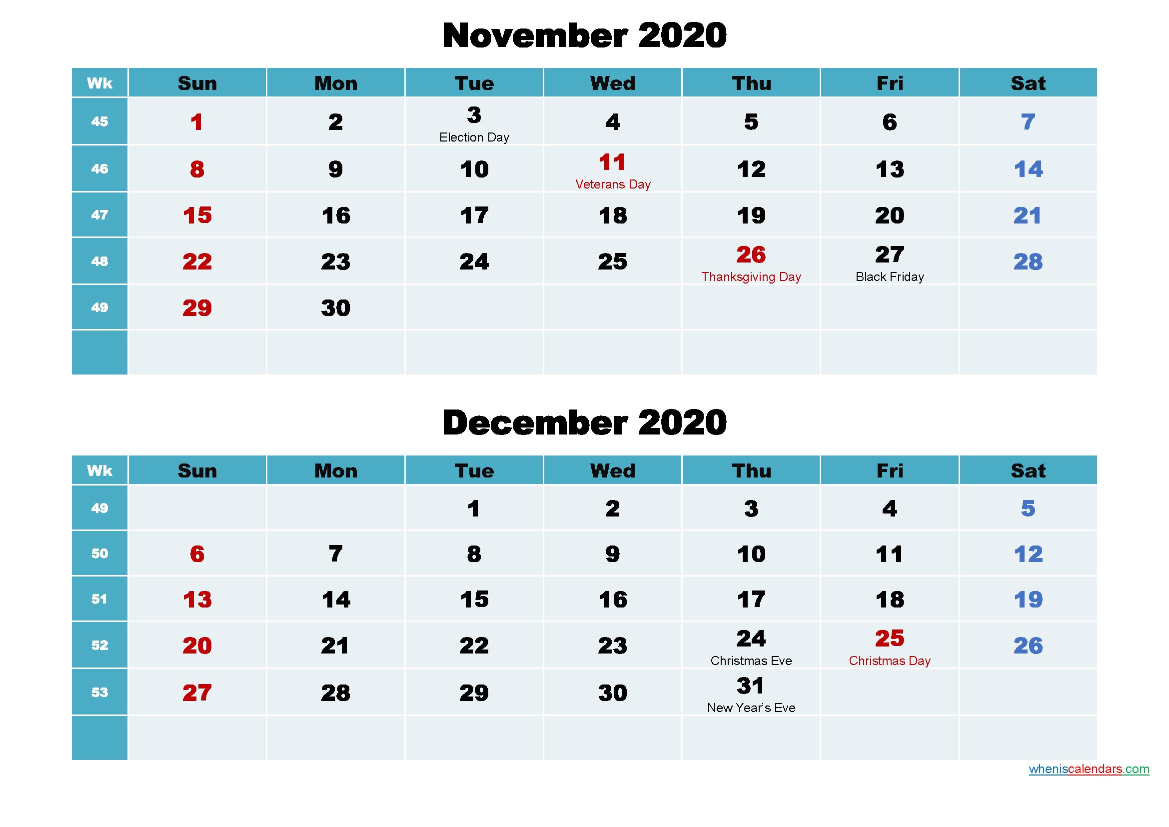 November and December 2020 Calendar with Holidays