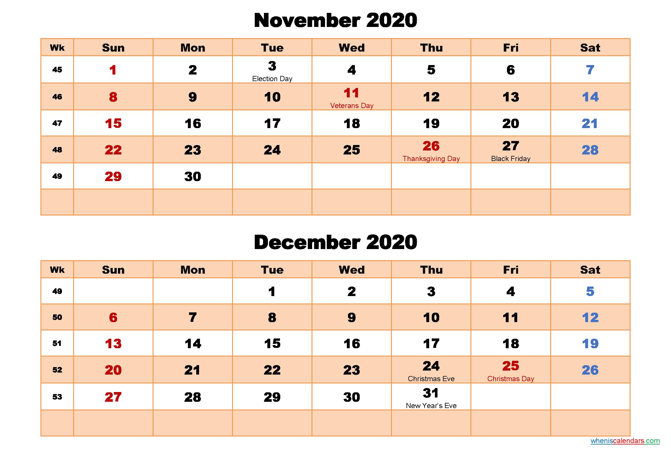 November and December Calendar 2020 Printable Word, PDF