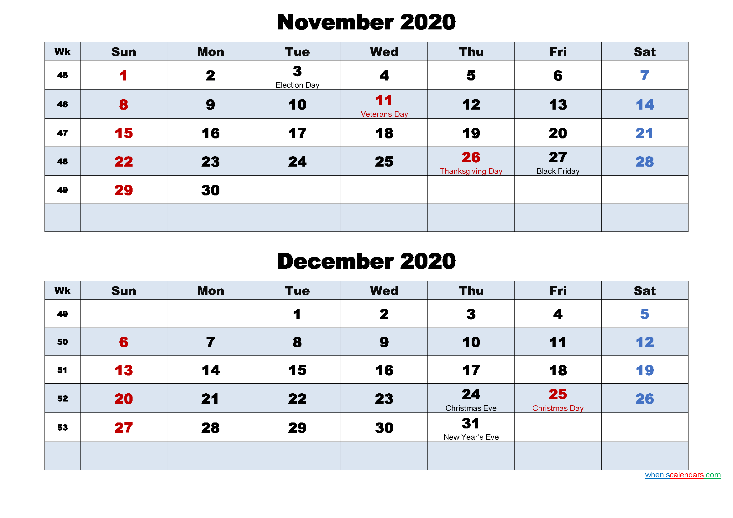 Printable Calendar November and December 2020 Word, PDF