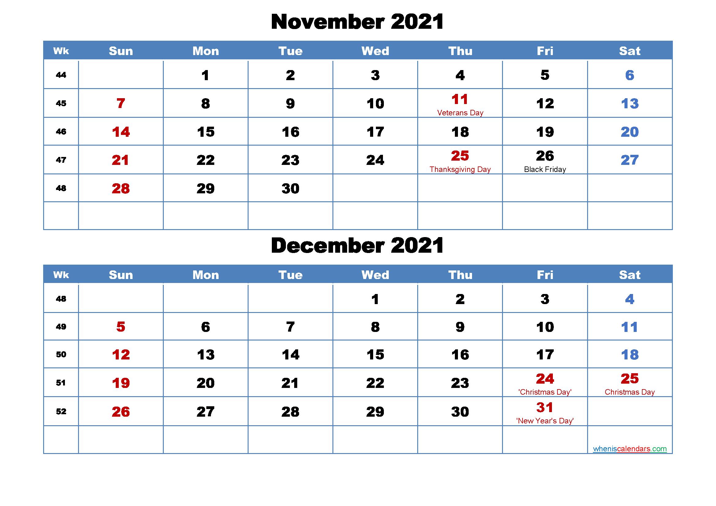 Printable Calendar November and December 2021 Word, PDF