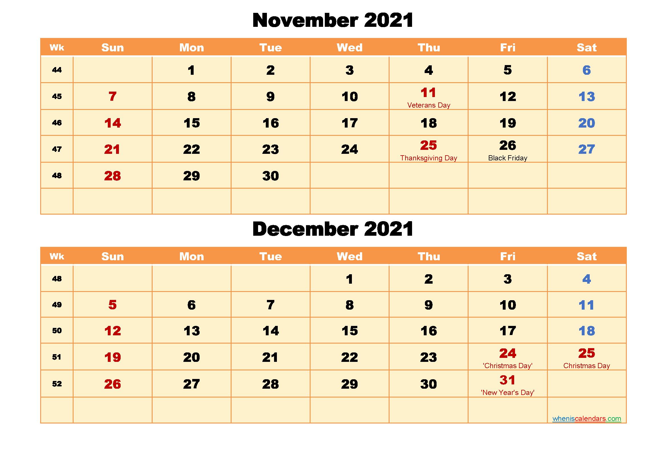 Calendar for November and December 2021 Word, PDF