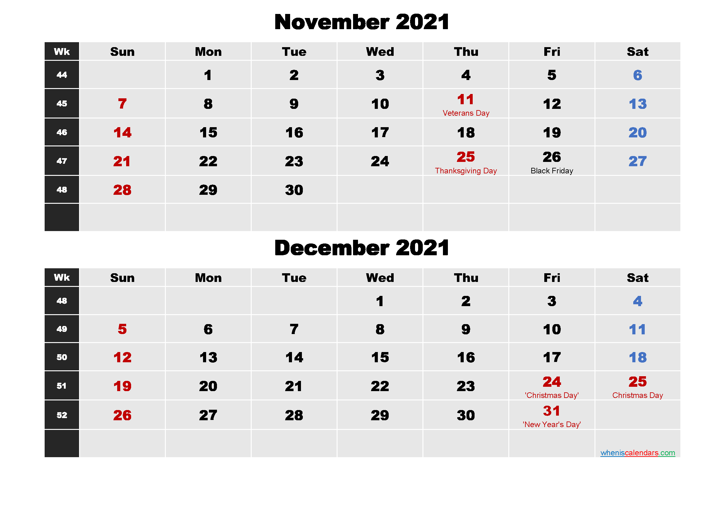 November and December 2021 Calendar with Holidays